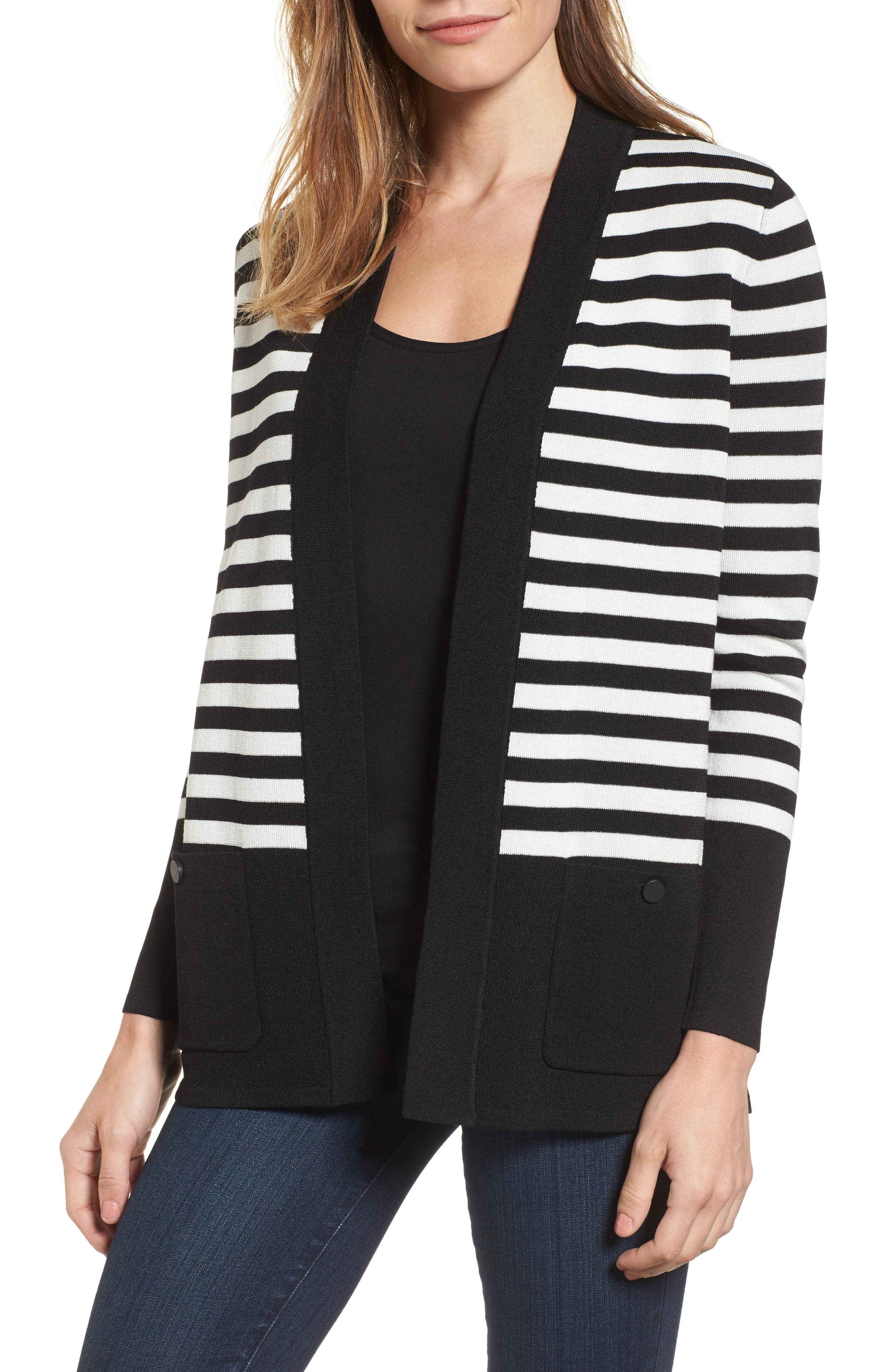 ANNE KLEIN Patch Pocket Cardigan in Black/ White