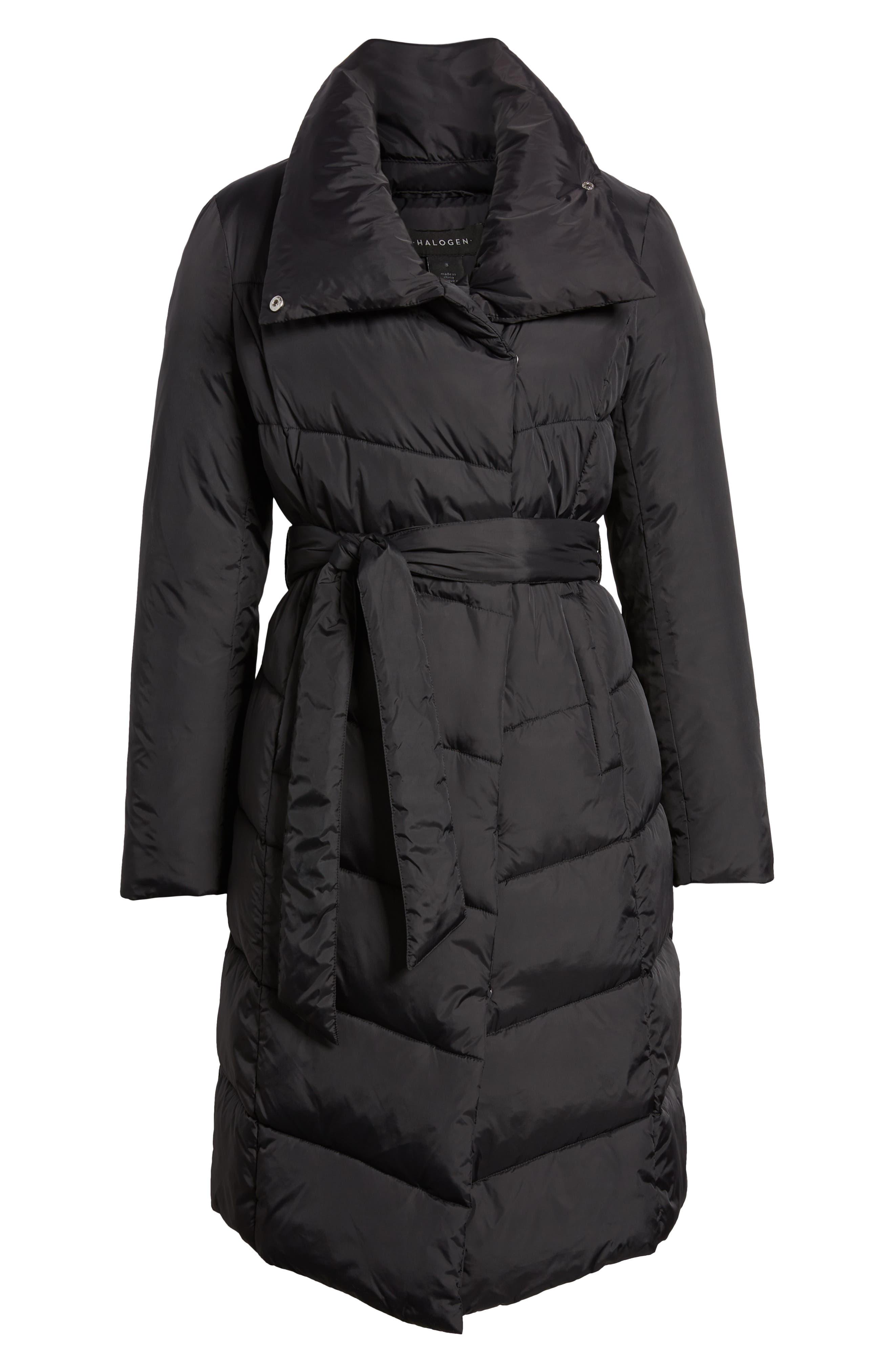 Long Puffer Coat,                             Alternate thumbnail 6, color,                             BLACK