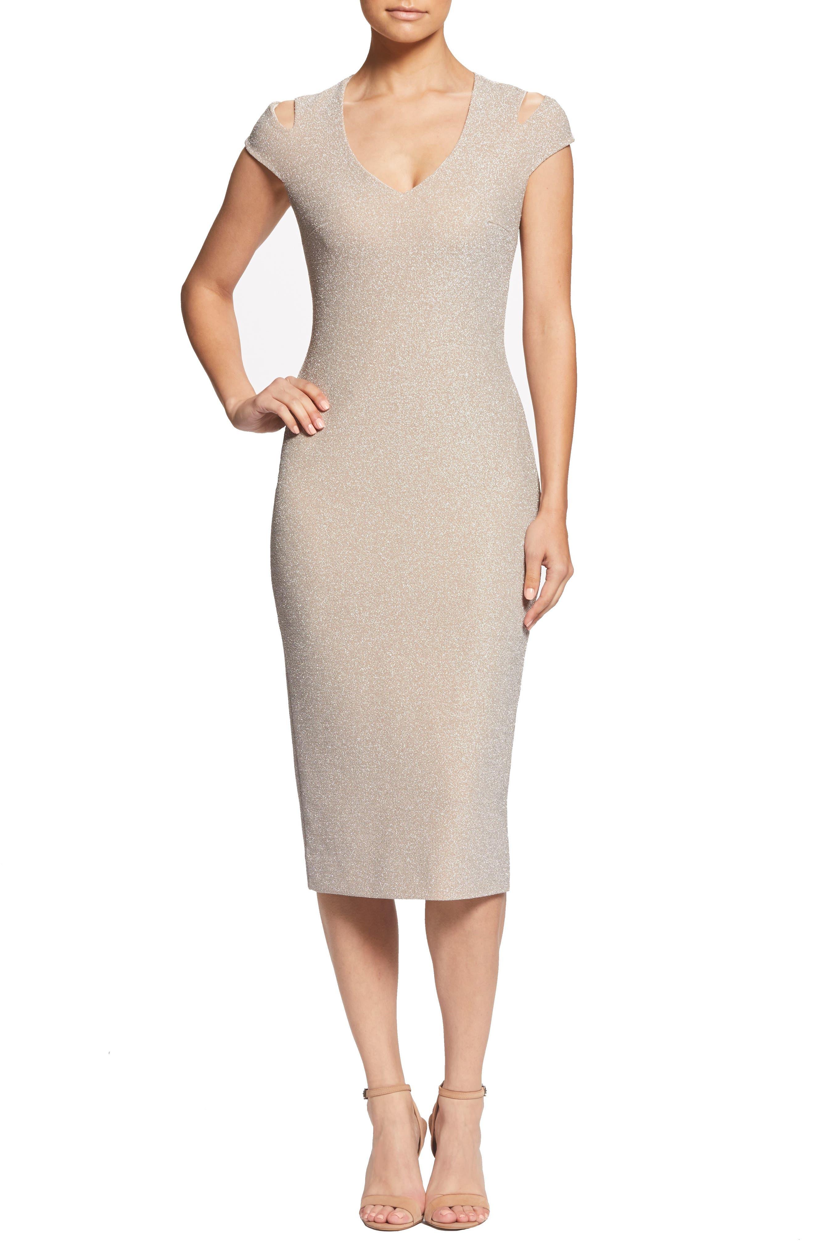 Dress The Population Bryce Slit Sleeve Midi Dress, Metallic