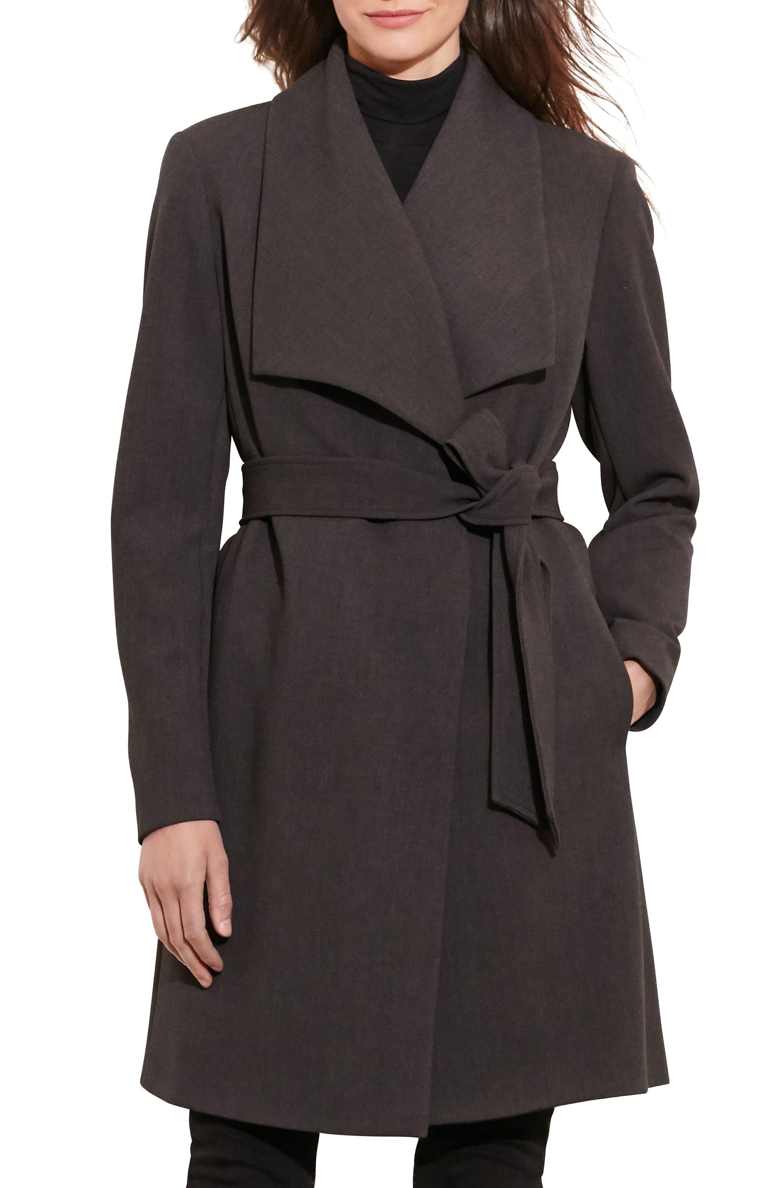 Belted Drape Front Coat,                         Main,                         color, CHARCOAL