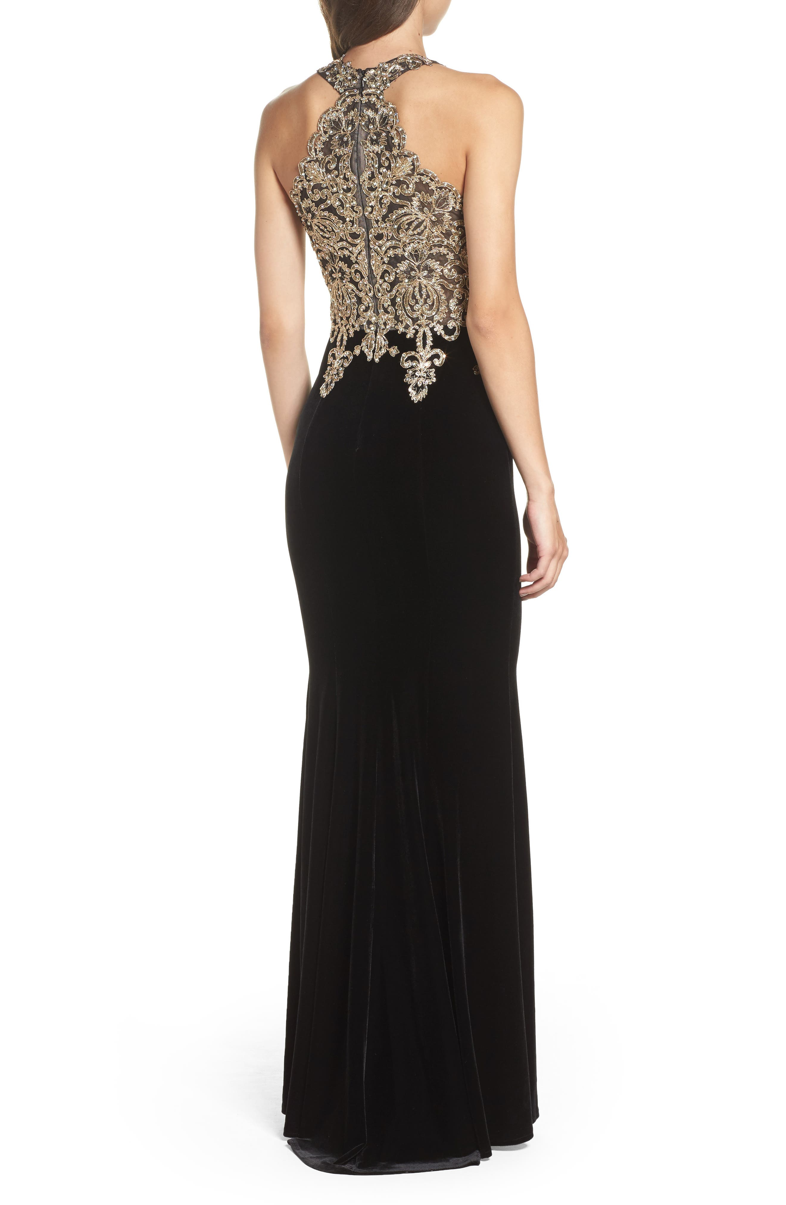 Crystal Embroidered Velvet Gown,                             Alternate thumbnail 2, color,