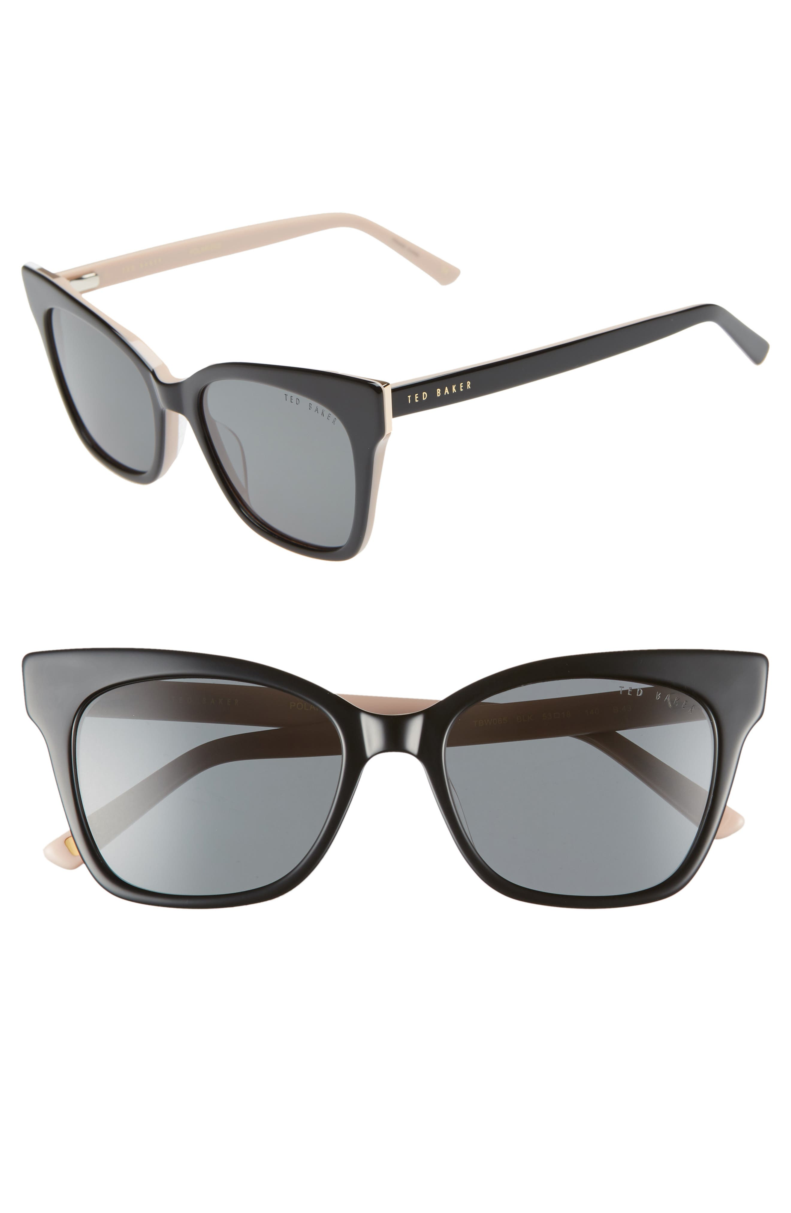 53mm Cat Eye Sunglasses,                             Main thumbnail 1, color,                             BLACK