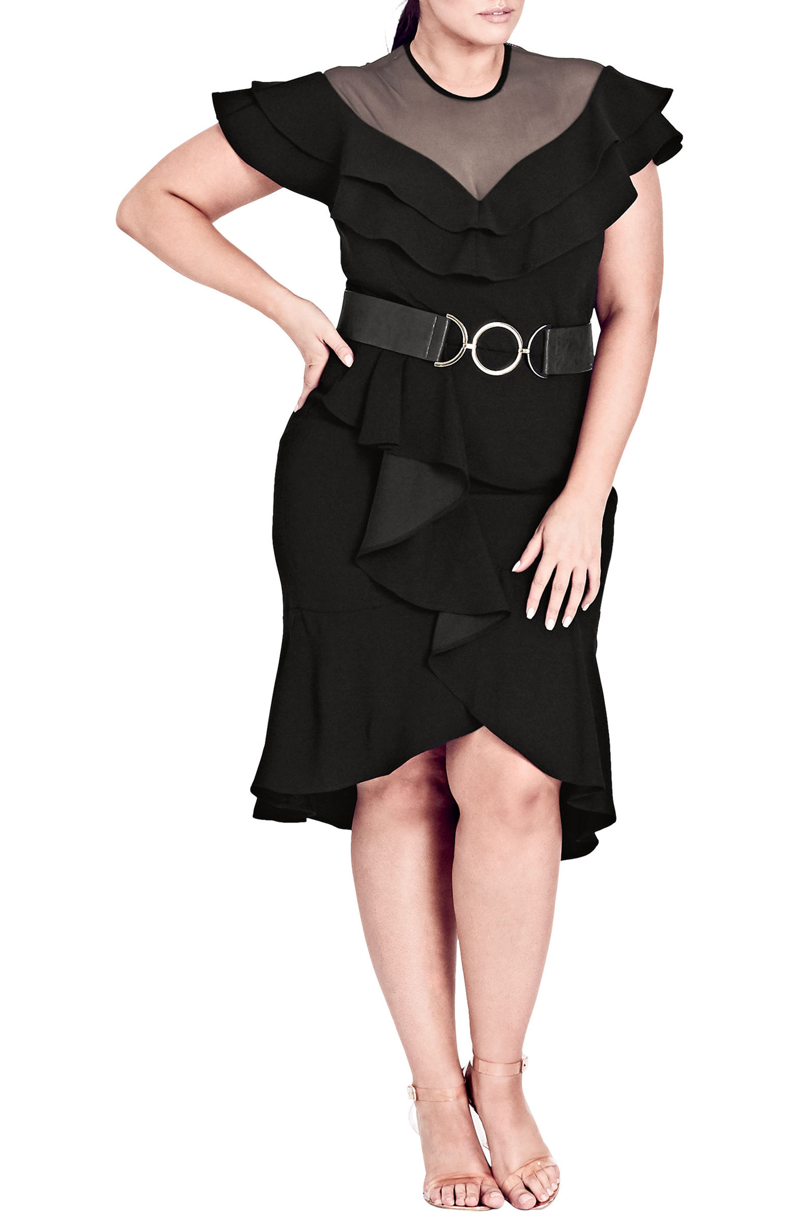 CITY CHIC,                             Frill Sleeve Fit & Flare Dress,                             Alternate thumbnail 3, color,                             BLACK