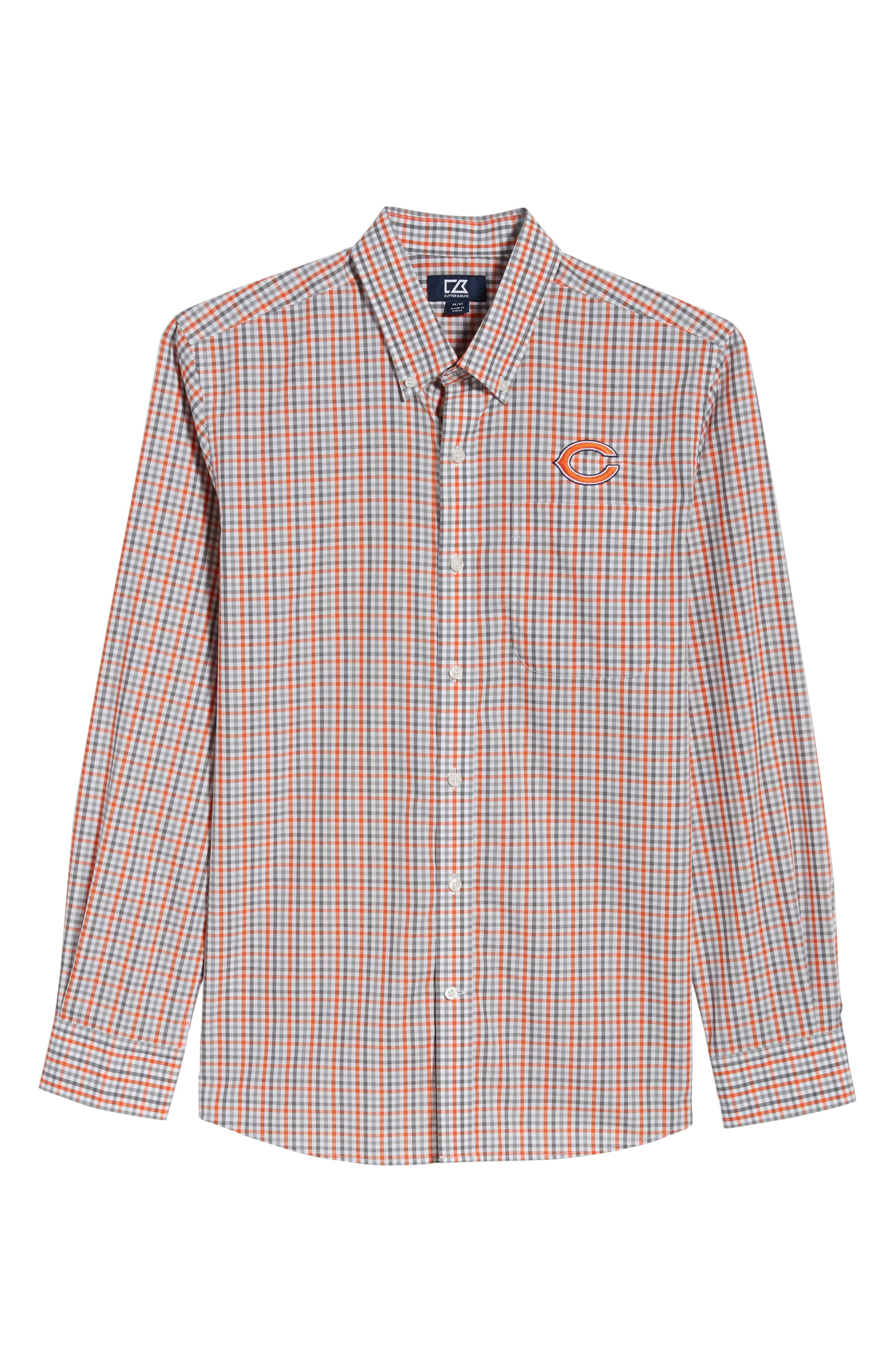 Chicago Bears - Gilman Regular Fit Plaid Sport Shirt,                             Alternate thumbnail 6, color,                             COLLEGE ORANGE