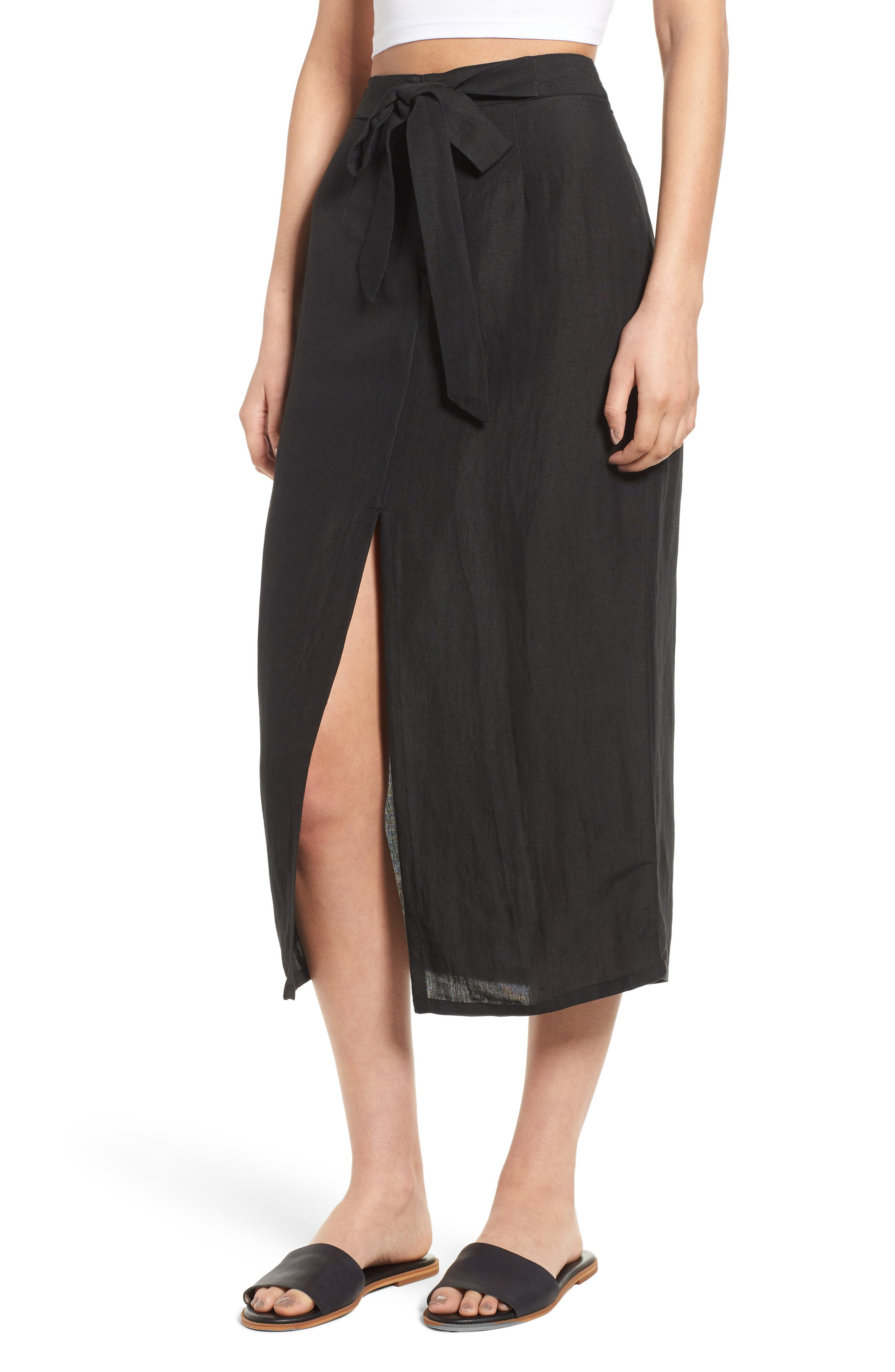 Linen Blend Midi Skirt,                             Main thumbnail 1, color,                             001