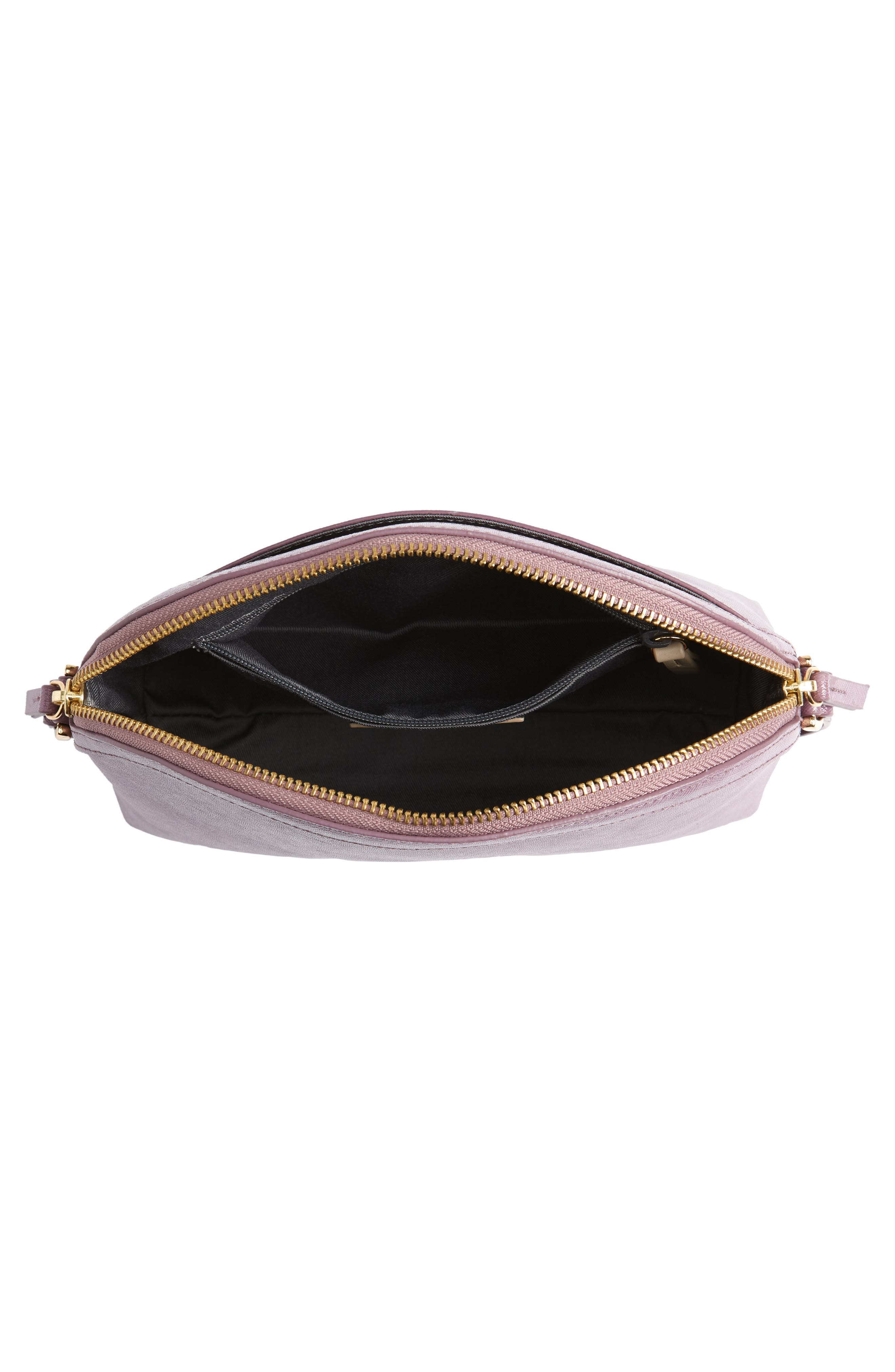 Isobel Half Moon Leather Crossbody Bag,                             Alternate thumbnail 4, color,                             PURPLE BETTA