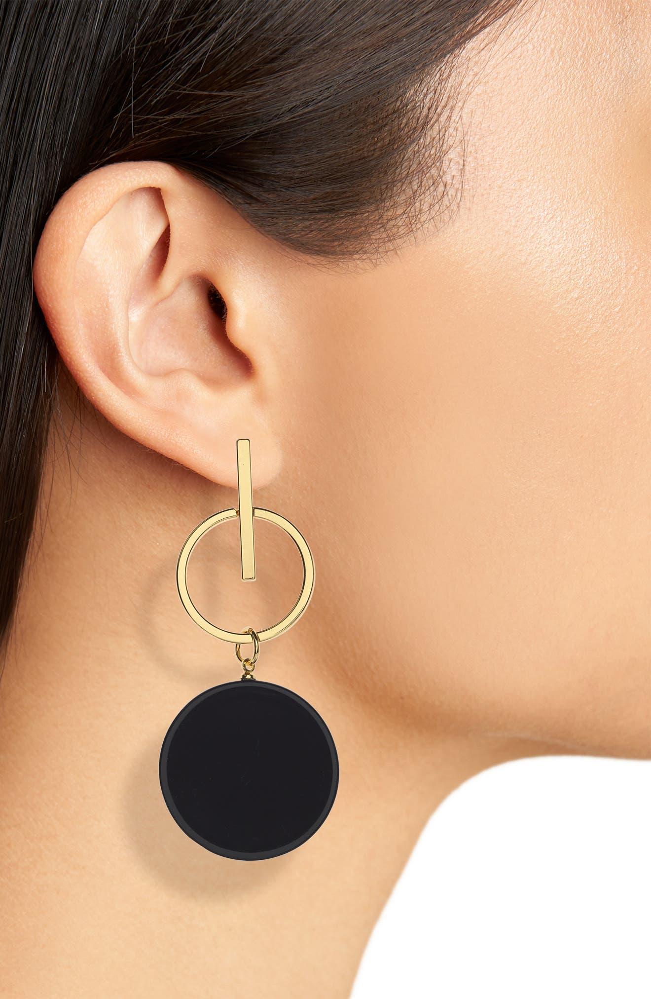 Acrylic Disc Earrings,                             Alternate thumbnail 2, color,