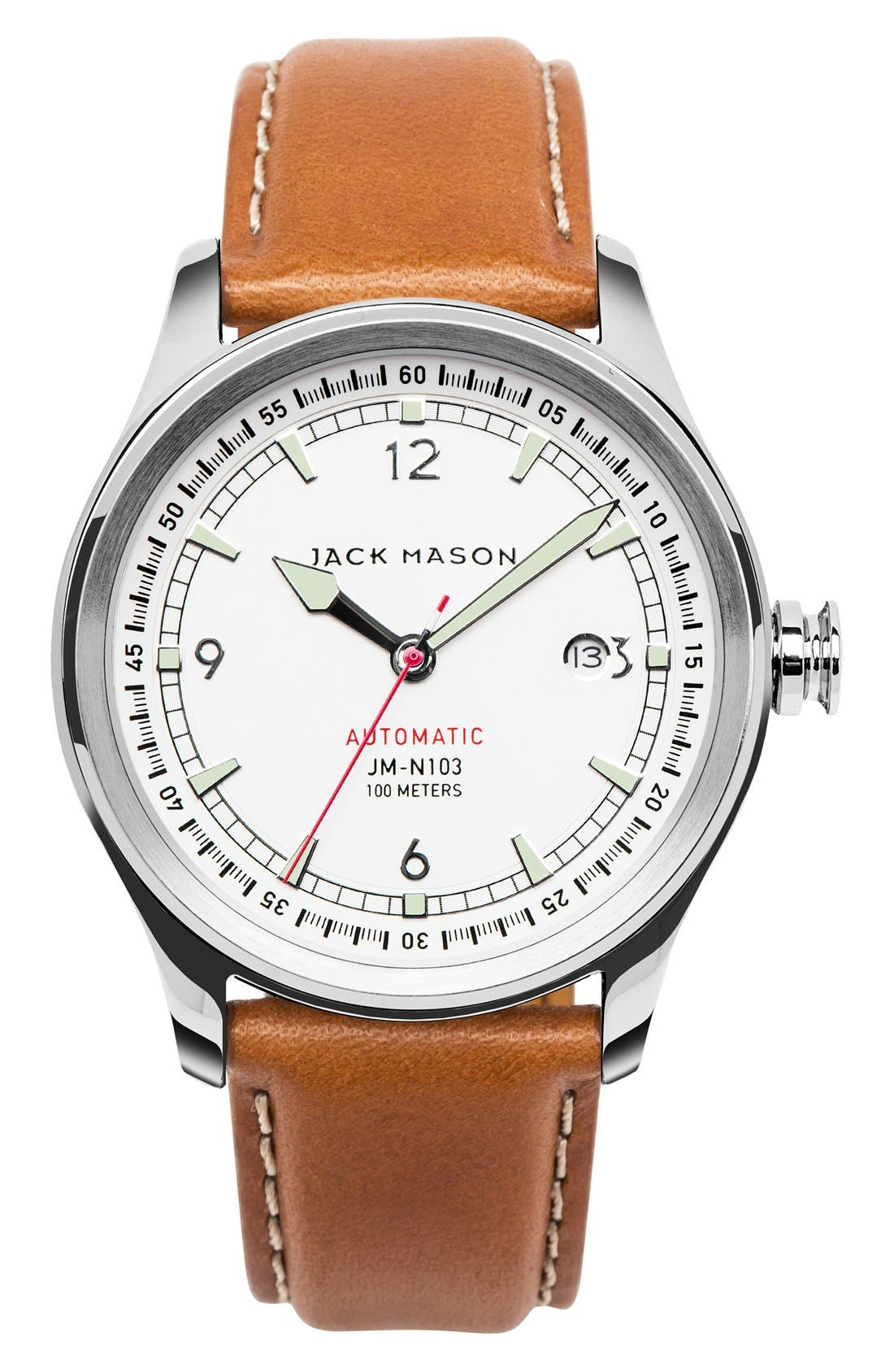 Nautical Automatic Leather Strap Watch, 42mm,                             Main thumbnail 1, color,                             WHITE/ TAN