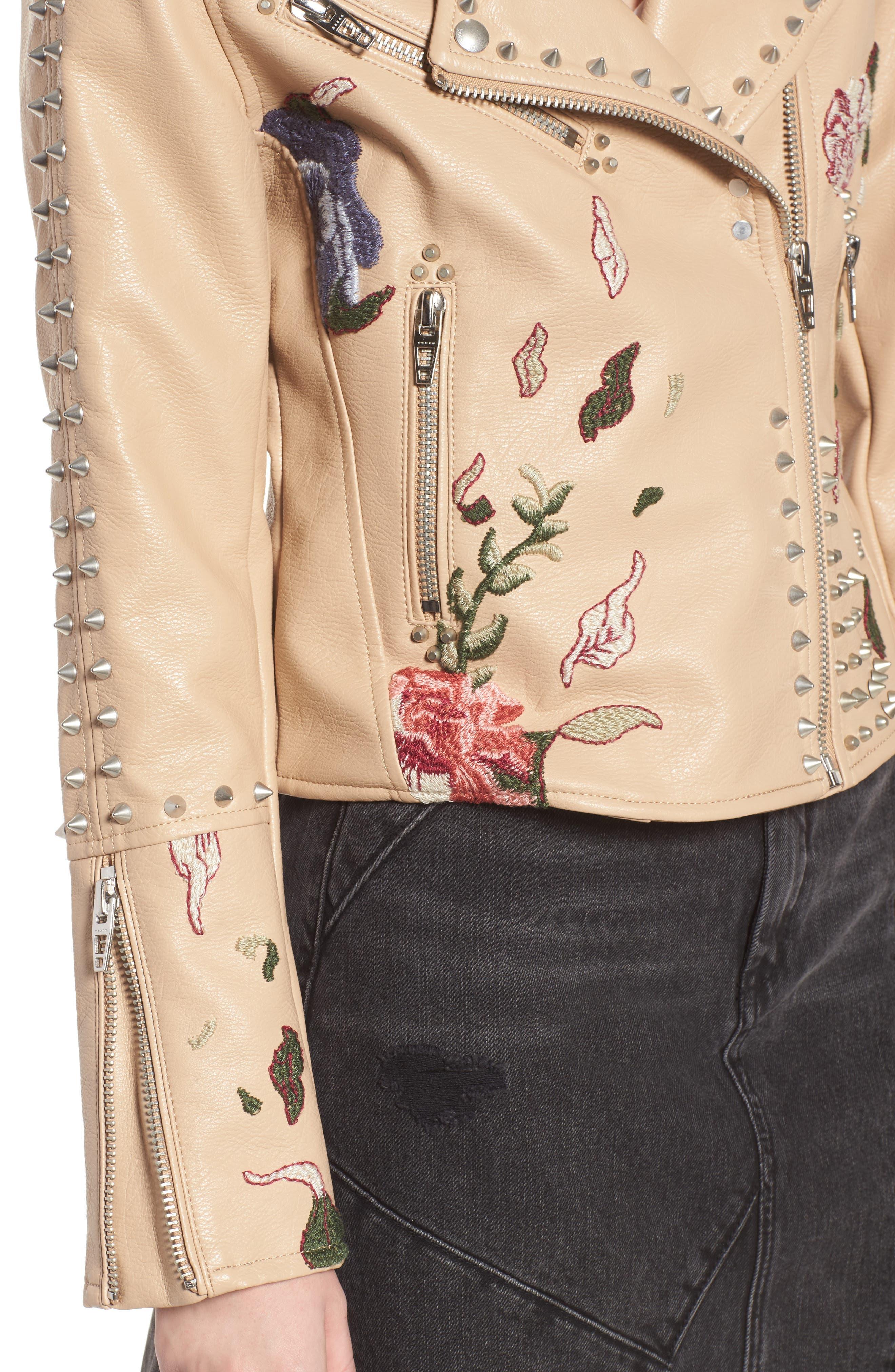 Embellished Faux Leather Moto Jacket,                             Alternate thumbnail 4, color,                             250