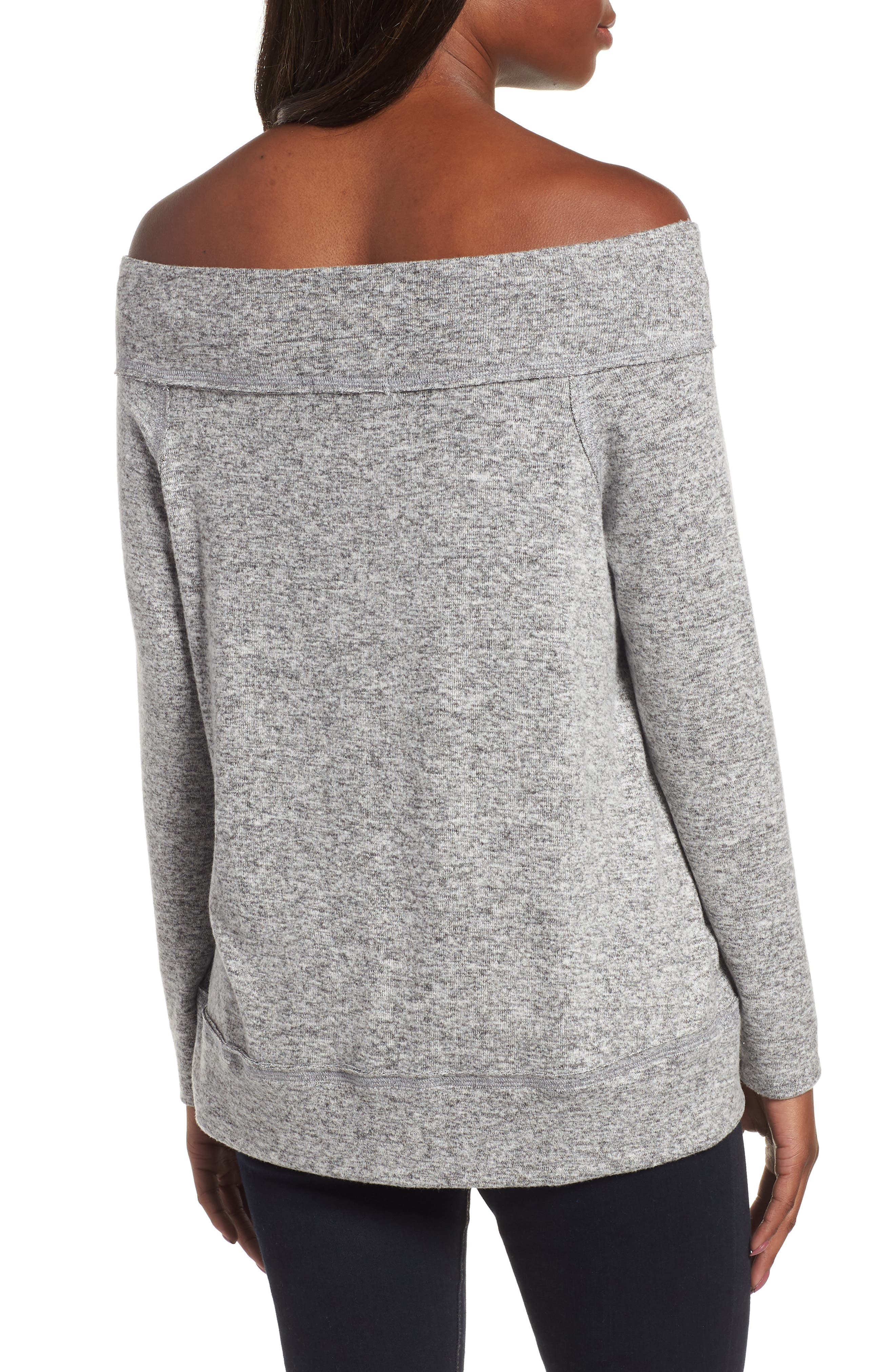 x Living in Yellow Mary Fleece Off the Shoulder Top,                             Alternate thumbnail 2, color,                             HEATHER GREY