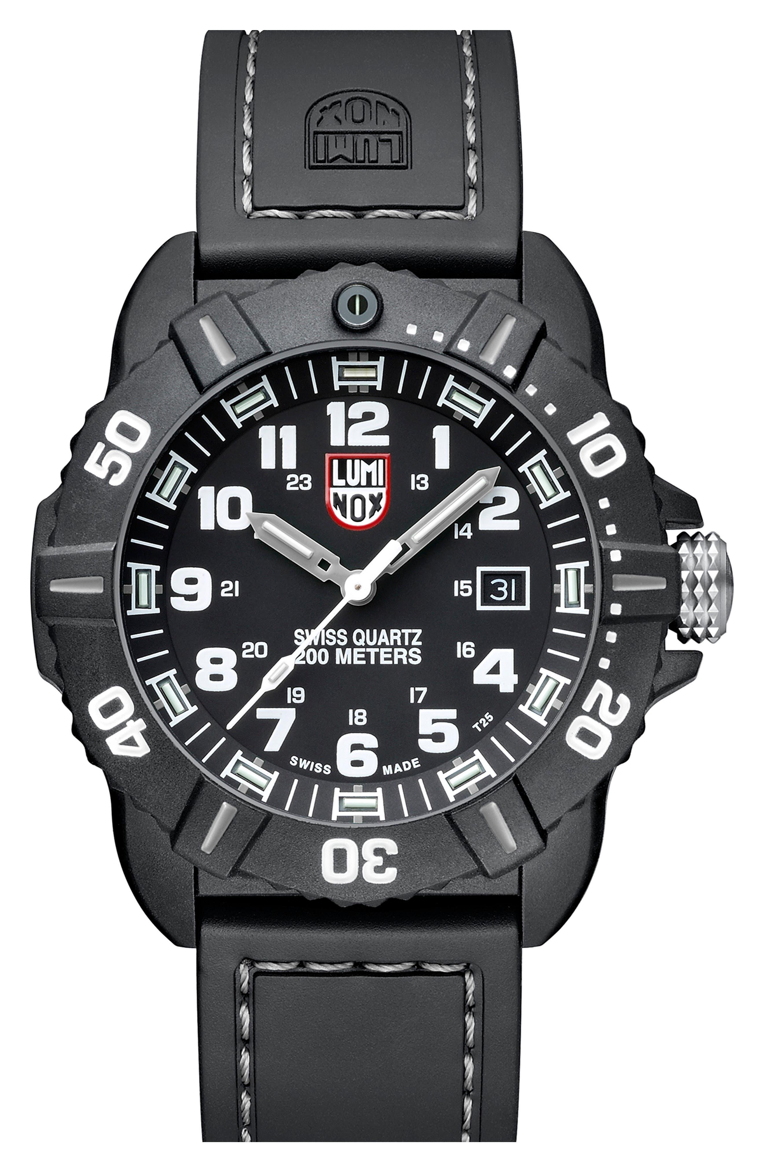 'Coronado' Rubber Strap Watch, 44mm,                             Alternate thumbnail 4, color,                             001