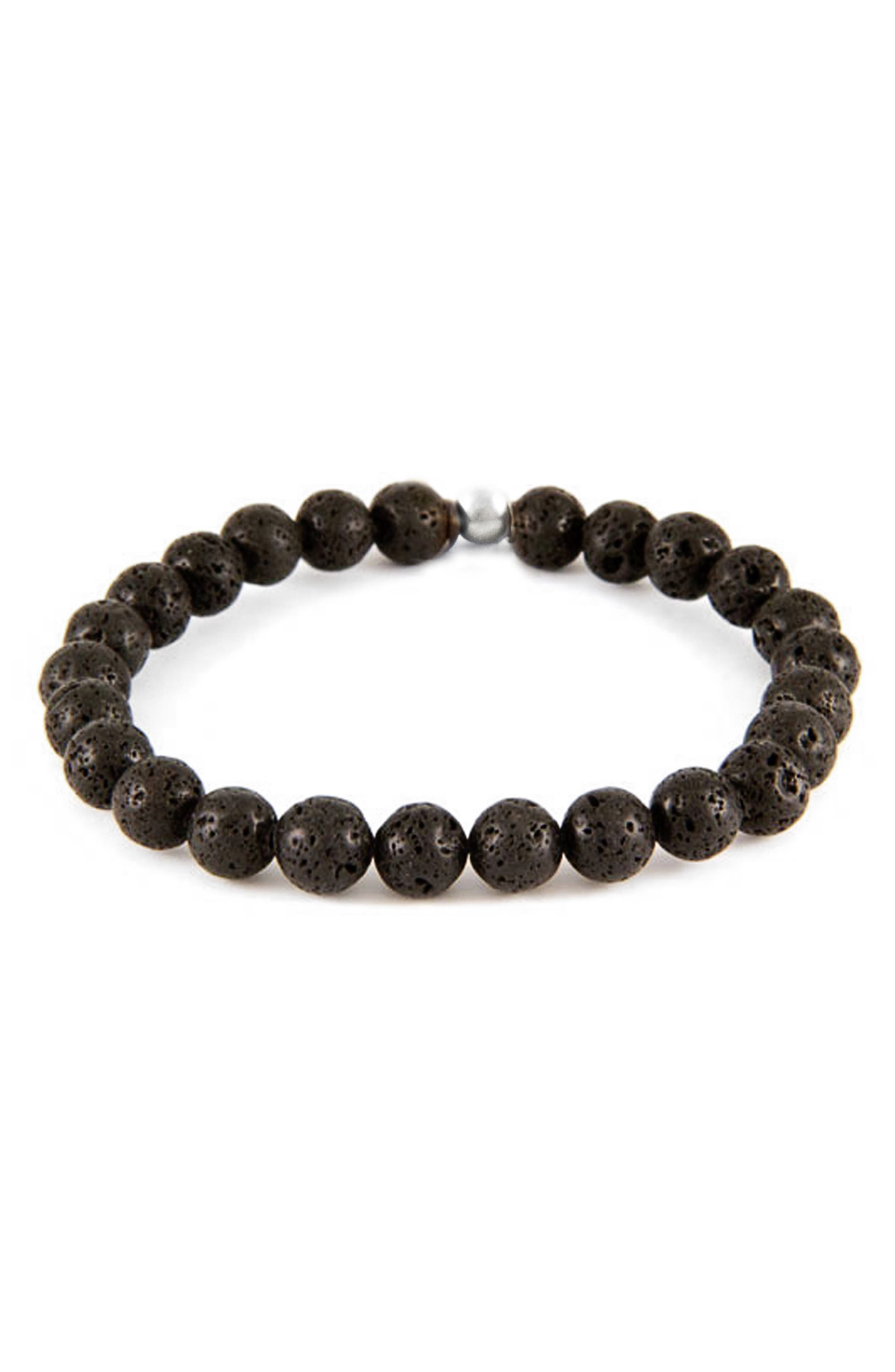 Lava Stone Bead Bracelet,                         Main,                         color, 001