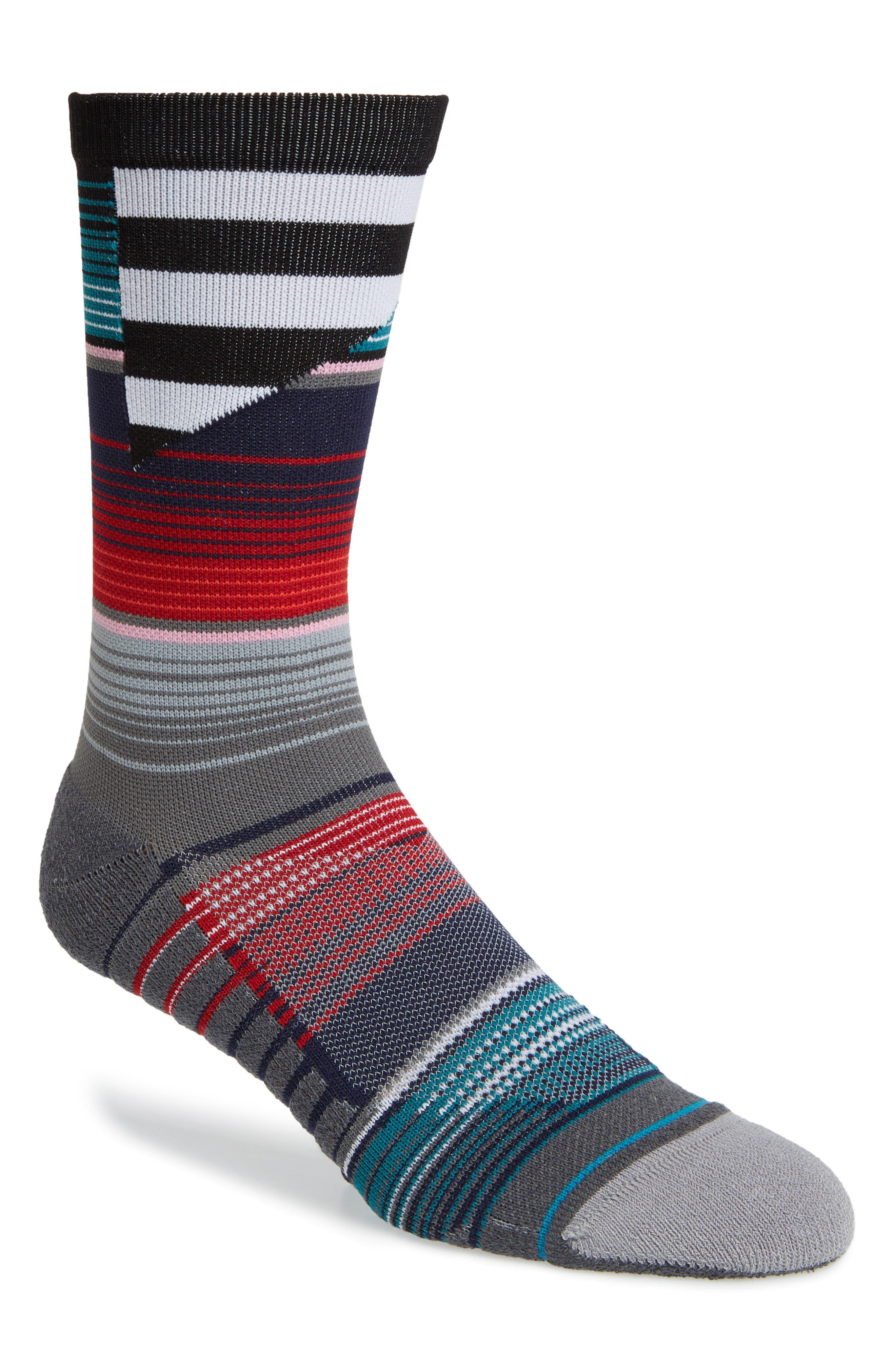 Barder Crew Socks,                         Main,                         color, RED MULTI
