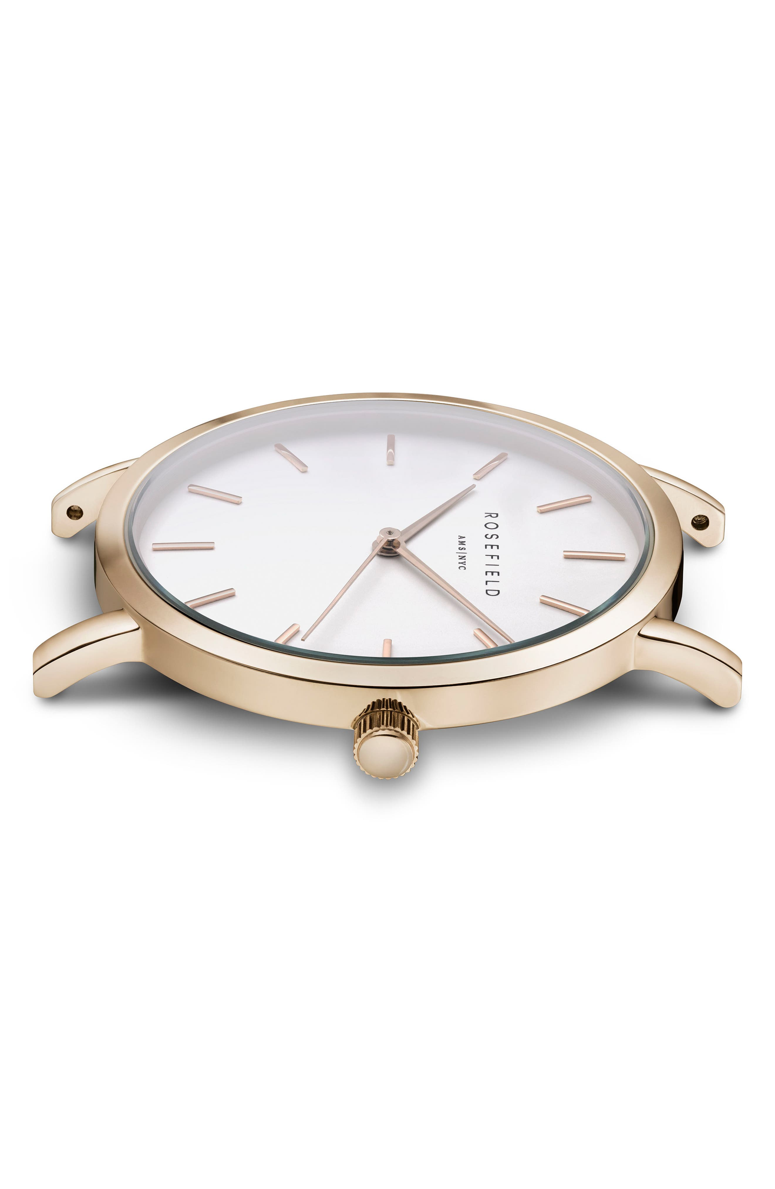 Gramercy Leather Strap Watch, 38mm,                             Alternate thumbnail 3, color,                             BLACK/ WHITE/ GOLD