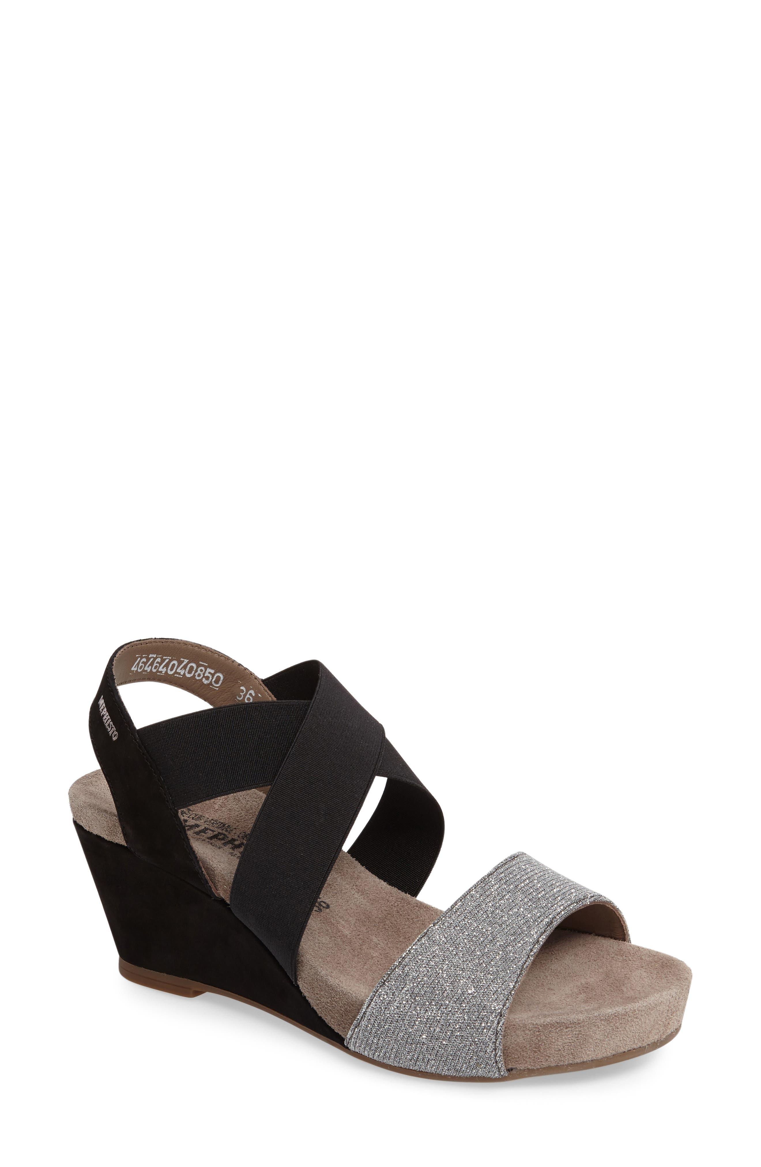 'Barbara' Wedge Sandal,                         Main,                         color, BLACK BUCKSOFT LEATHER