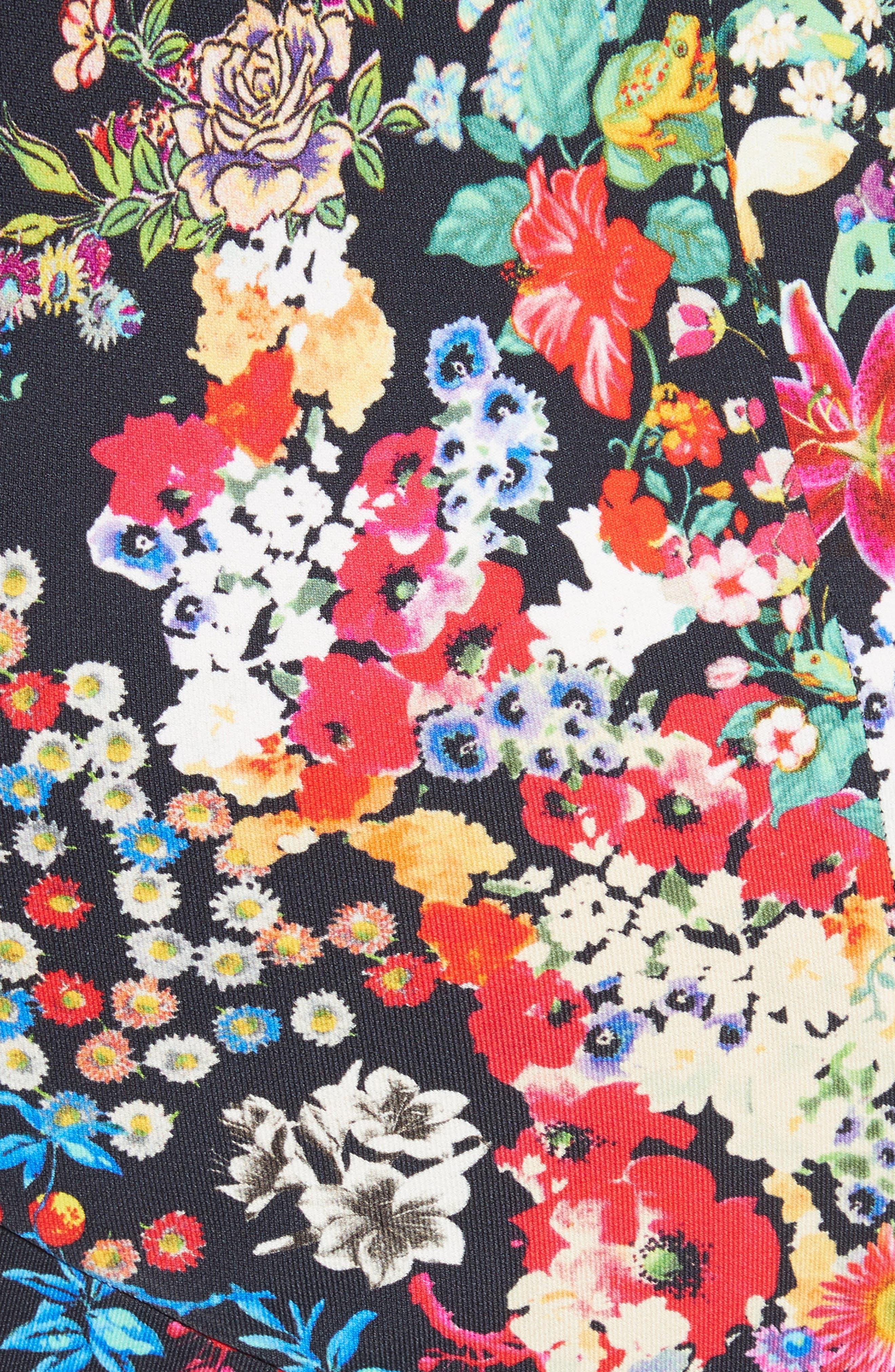 Micro Floral Print Dress,                             Alternate thumbnail 5, color,                             001