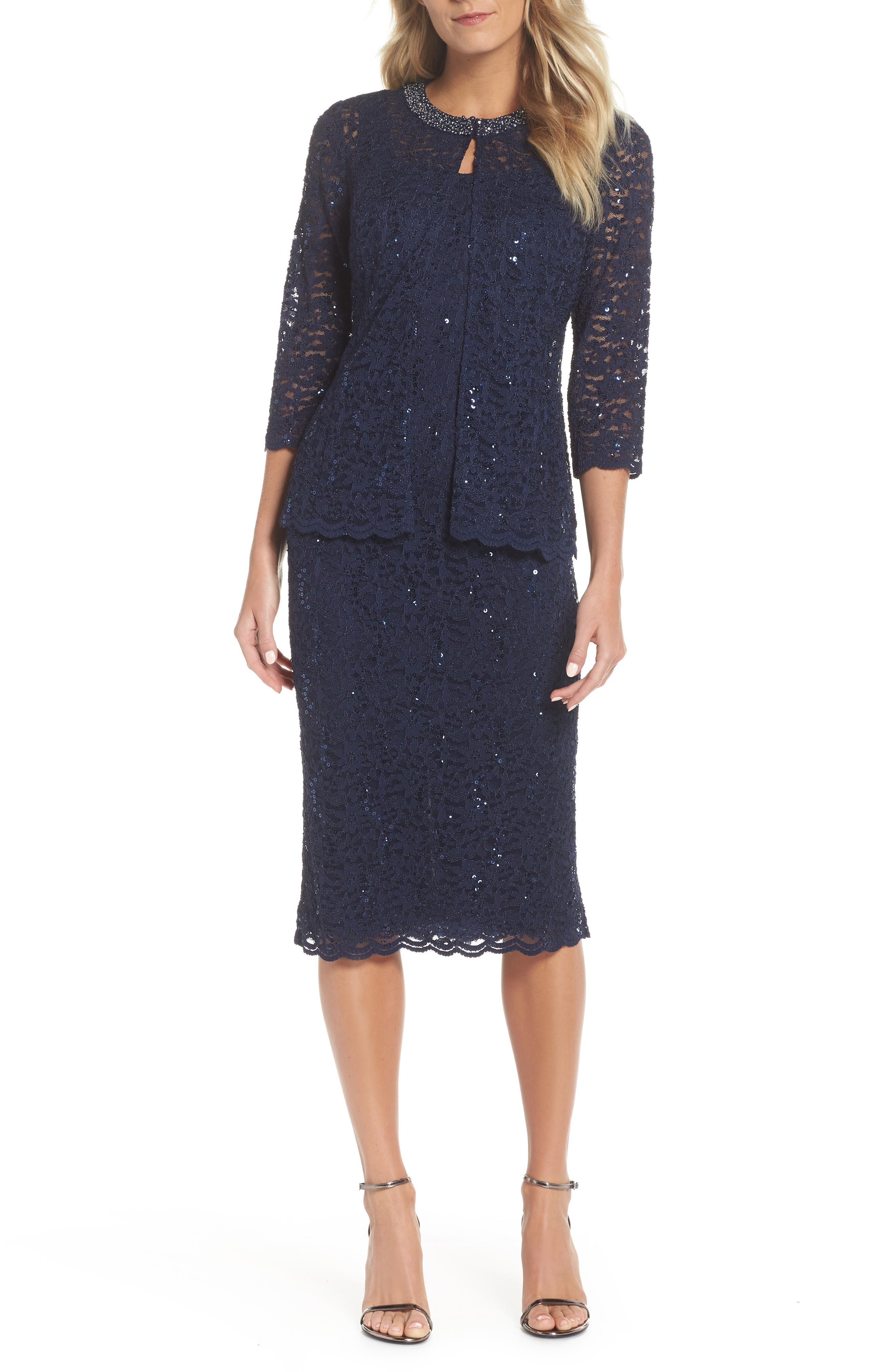 Cocktail Shift with Jacket,                         Main,                         color, NAVY