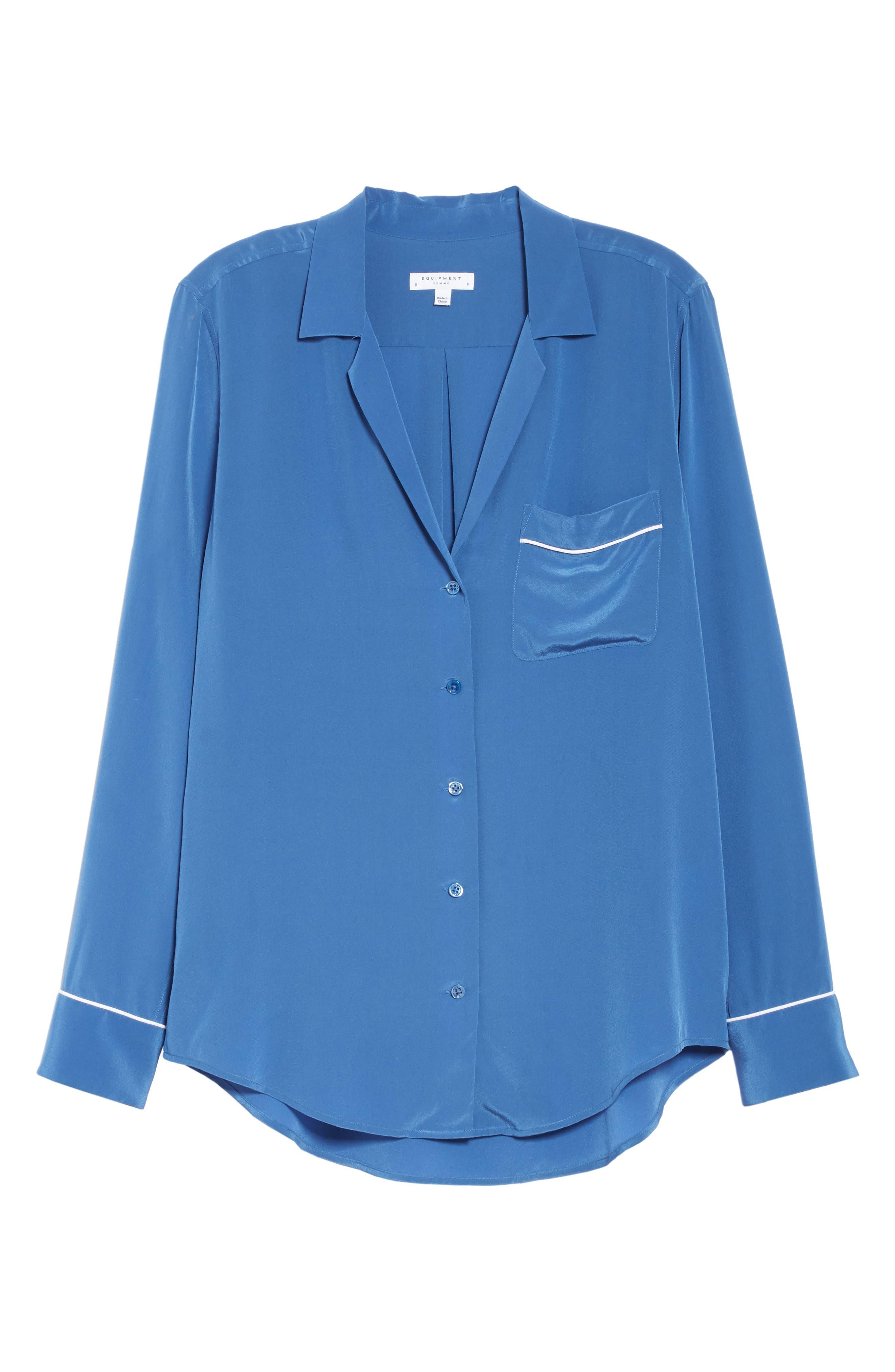 Keira Piped Silk Shirt,                             Alternate thumbnail 6, color,                             LETTERMAN BLUE