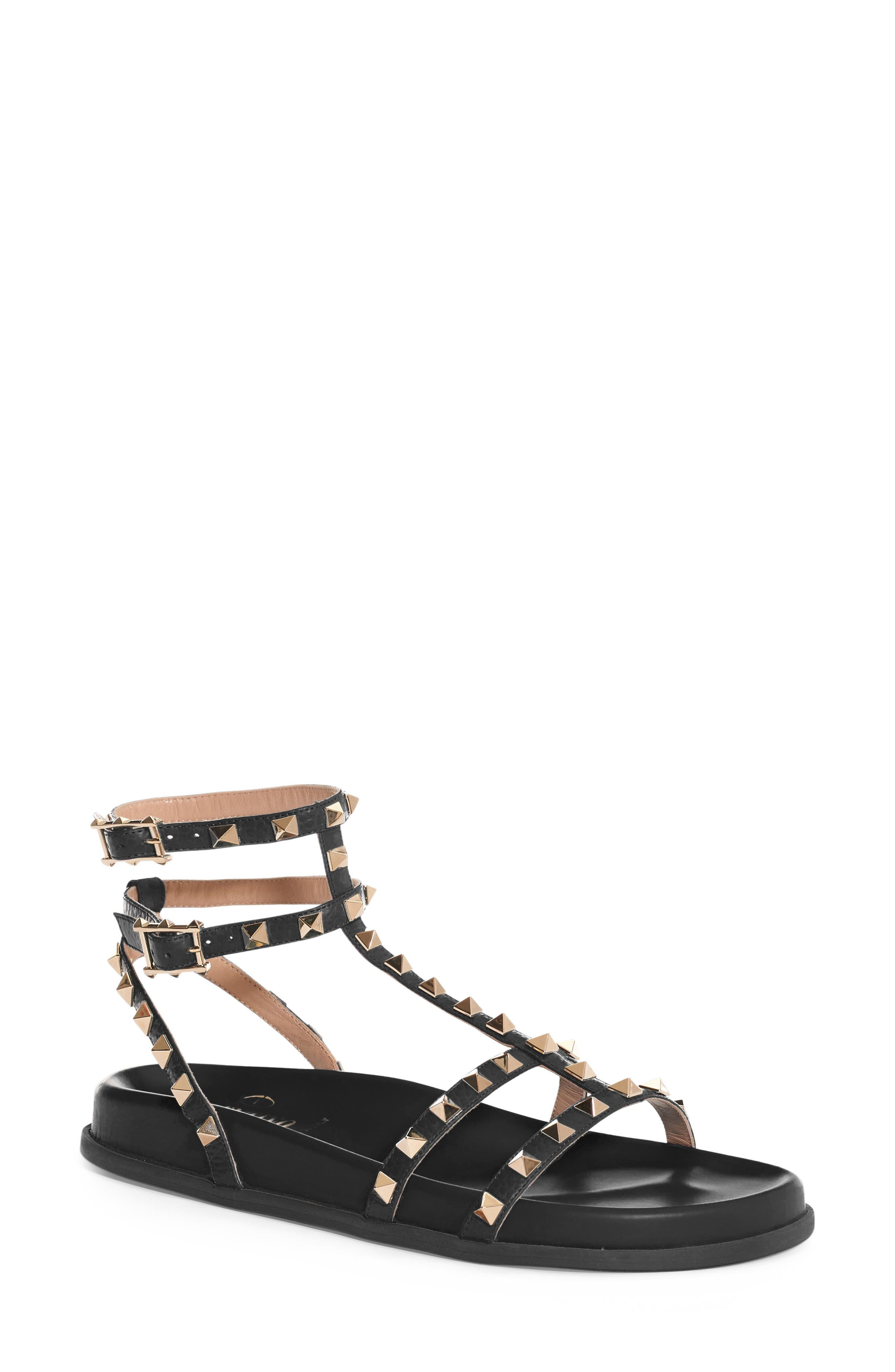 Rockstud Flatform Sandal,                             Main thumbnail 1, color,                             001