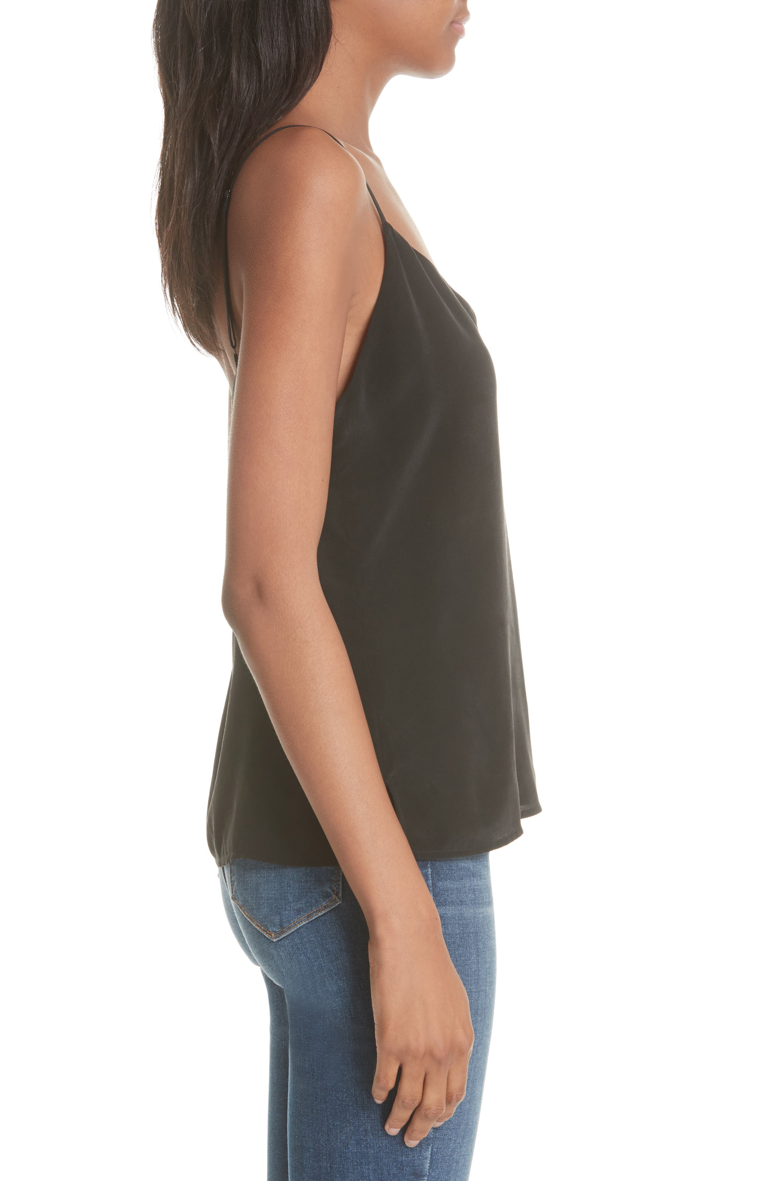 'Jane' Silk Tank,                             Alternate thumbnail 3, color,                             BLACK
