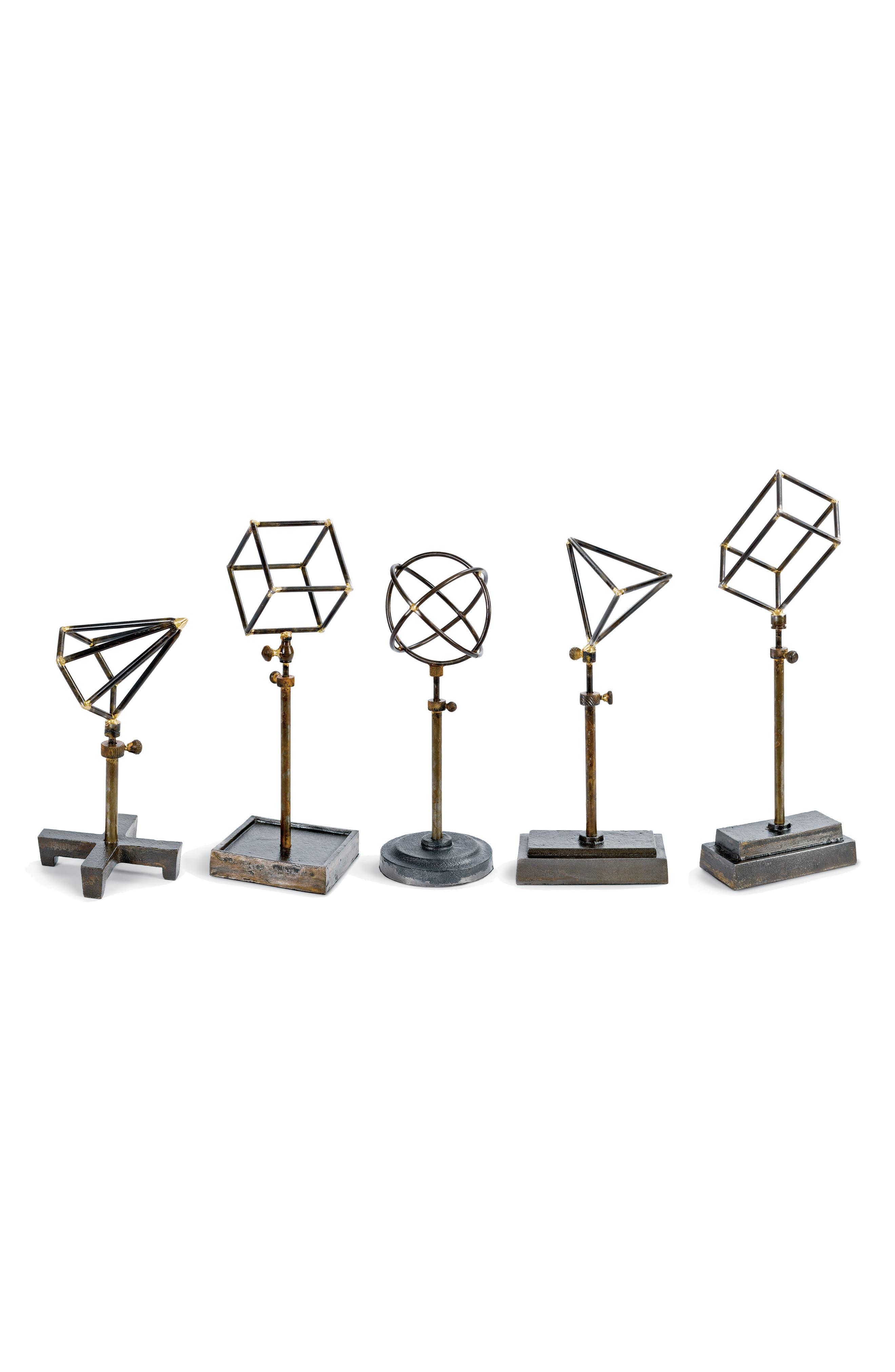 Set of 5 Geometric Sculptures,                         Main,                         color, BRASS