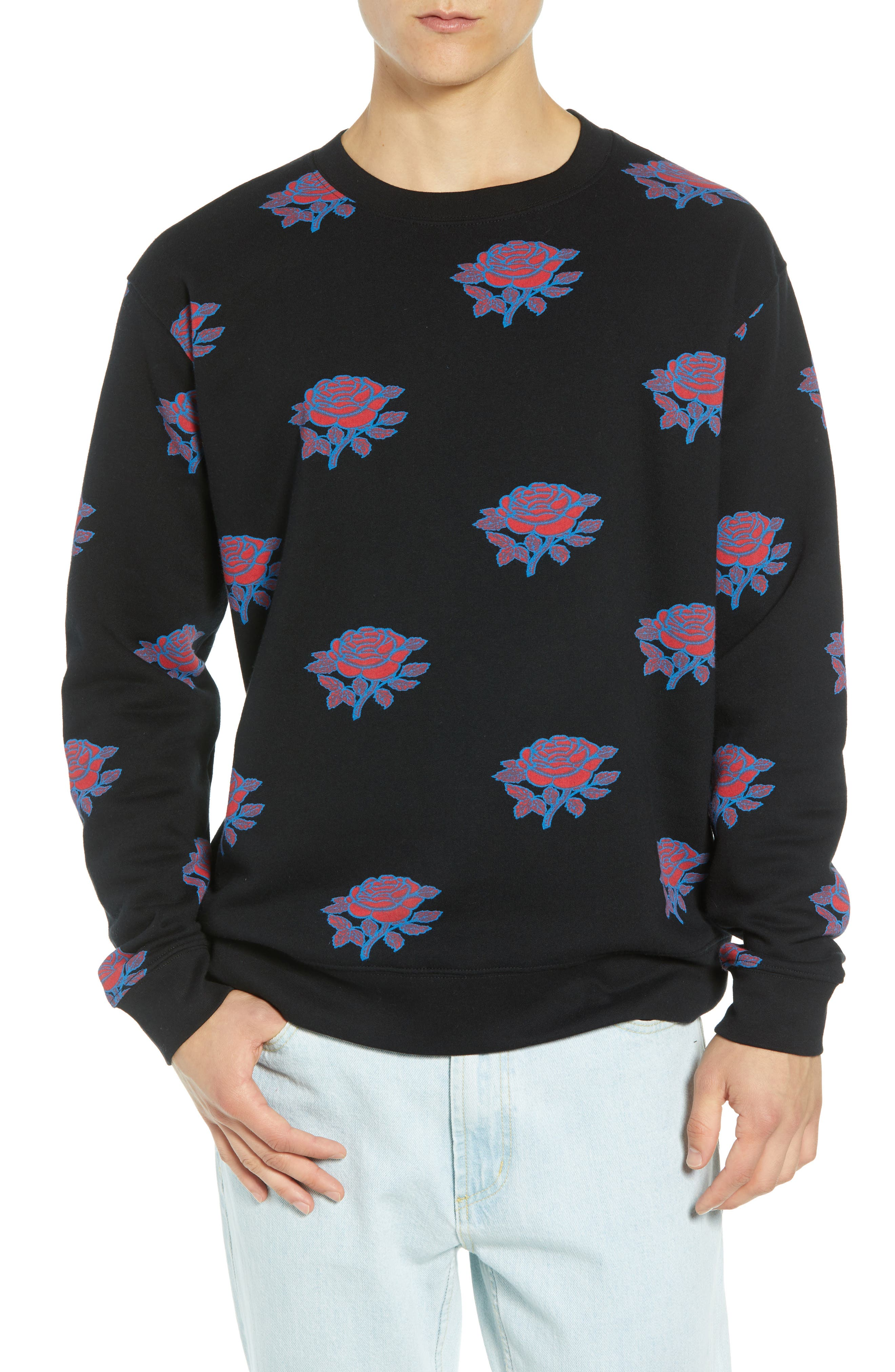 Thorns Crewneck Sweatshirt,                         Main,                         color, BLACK