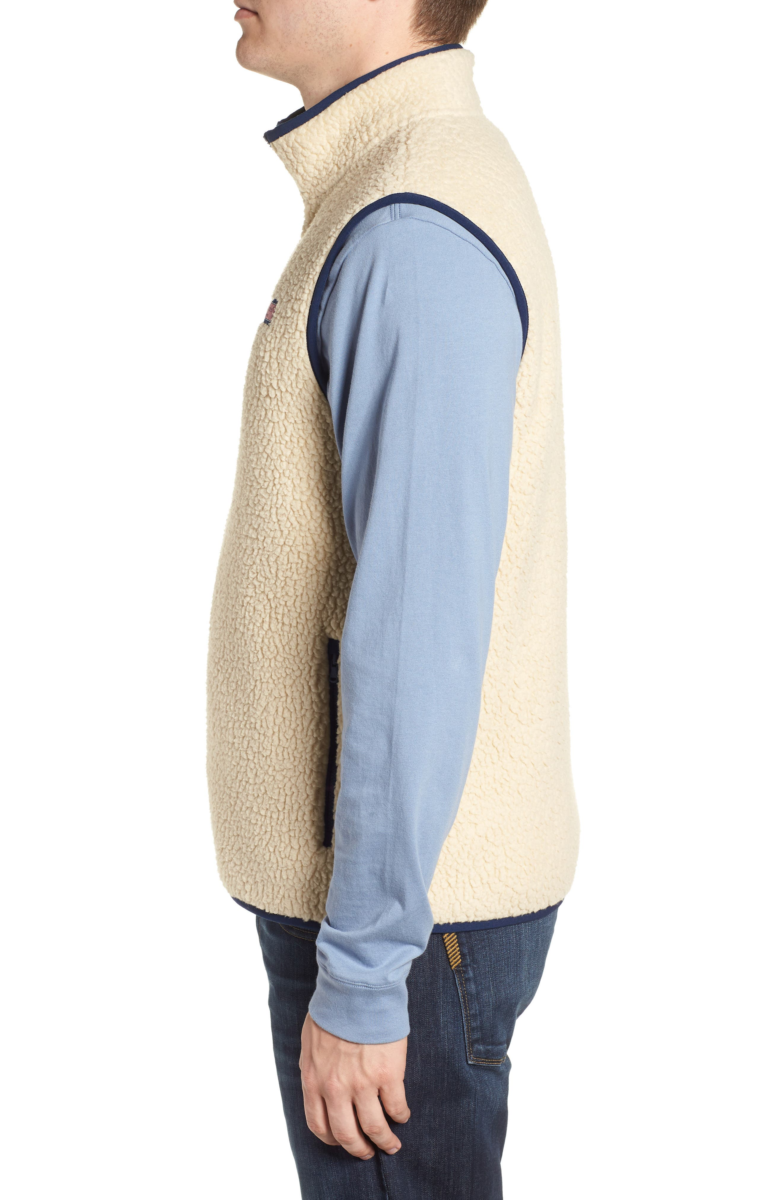 Harbor Regular Fit Fleece Vest,                             Alternate thumbnail 3, color,                             CAMEL