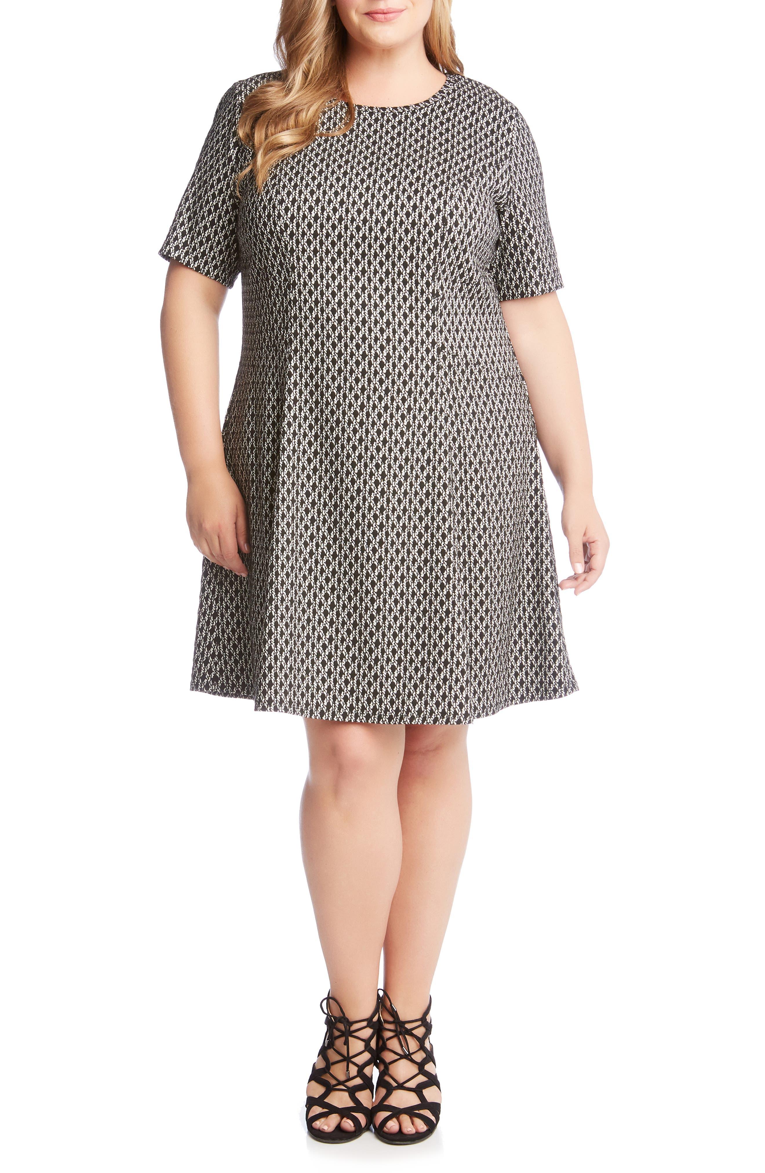Plus Size Karen Kane Medallion Flare Hem Dress, Black