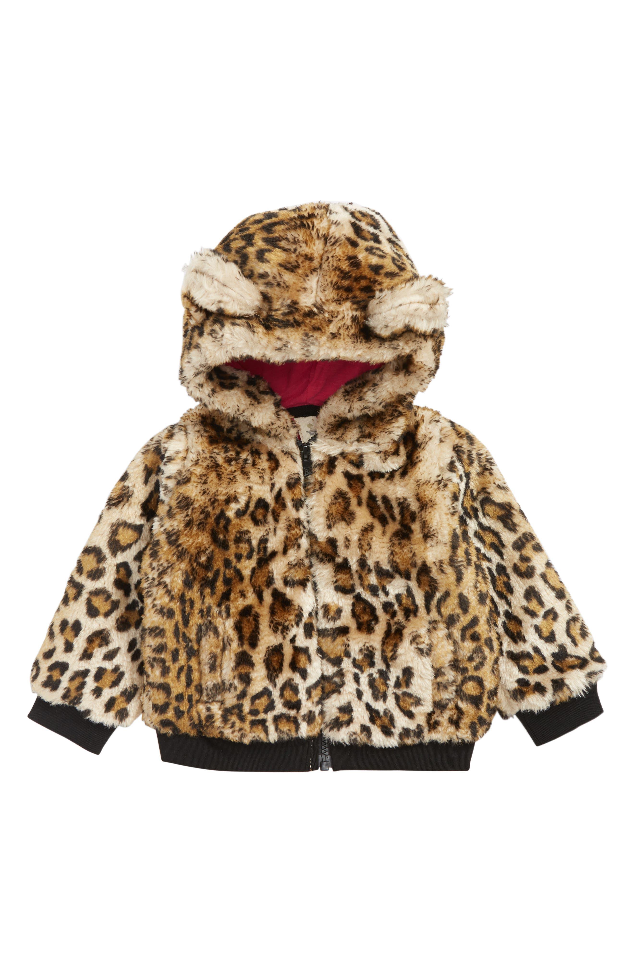 Animal Print Faux Fur Jacket,                         Main,                         color, TAN DALE LEOPARD
