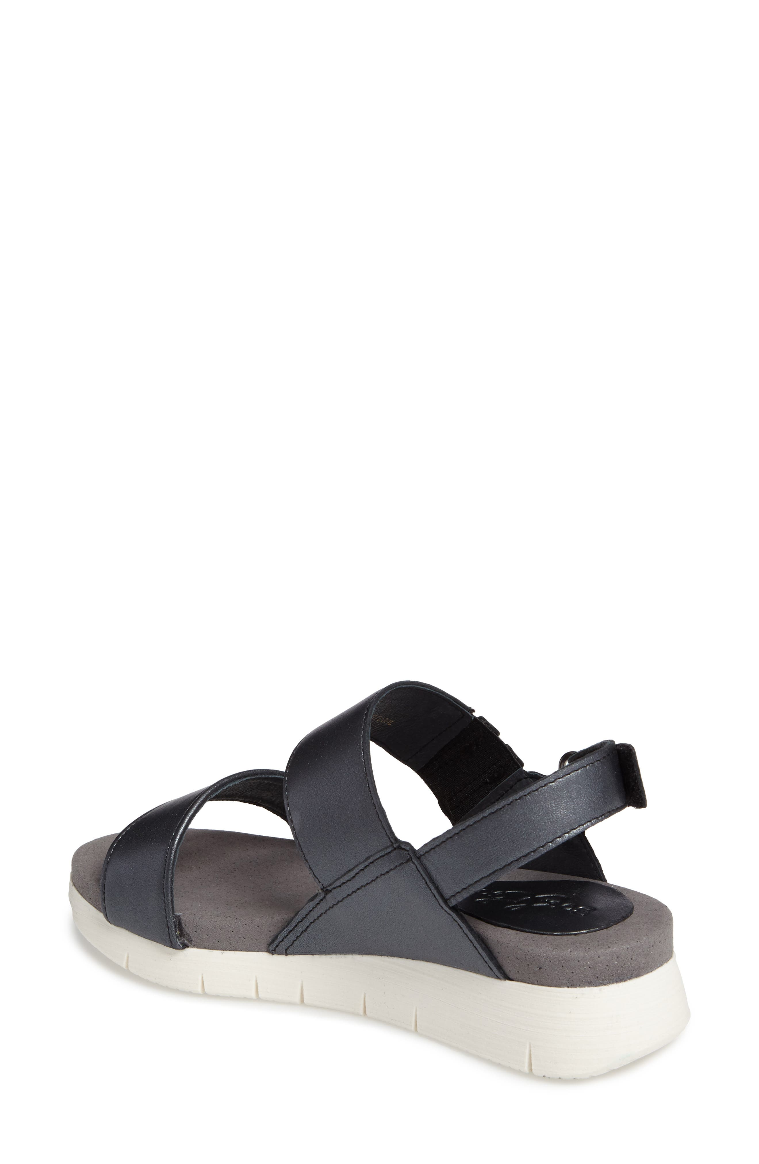 Payge Wedge Sandal,                             Alternate thumbnail 2, color,                             BLACK LEATHER