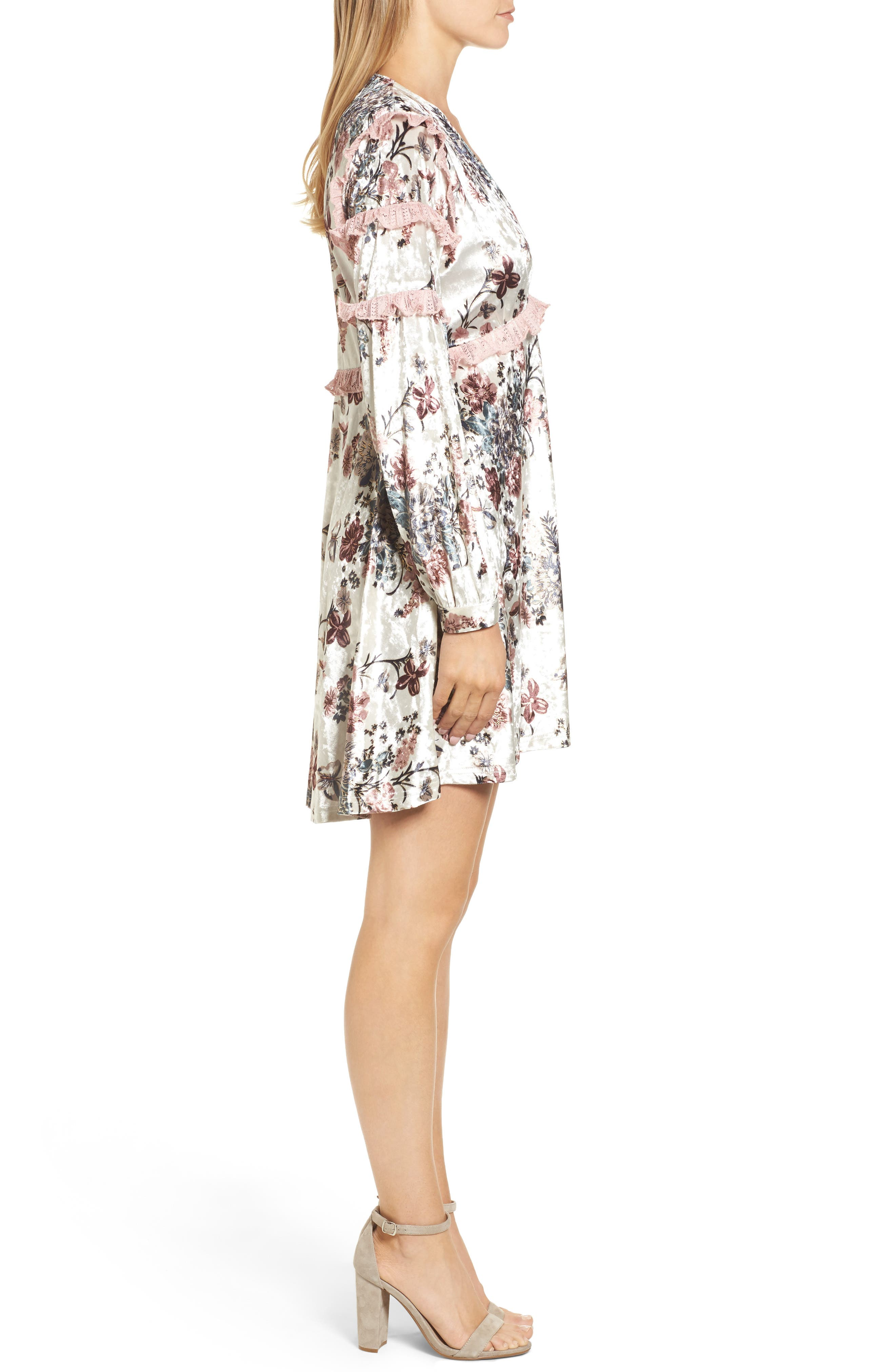 Melisa Floral Velvet & Lace Shift Dress,                             Alternate thumbnail 3, color,                             100
