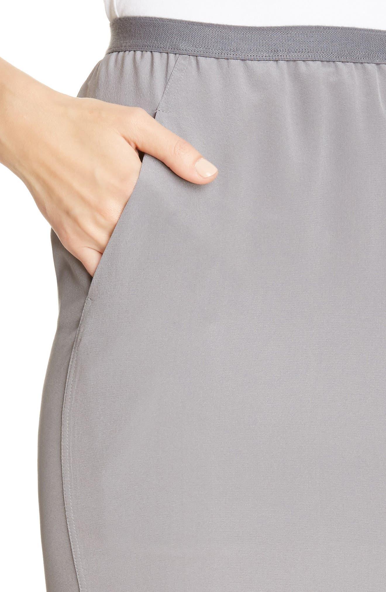 Split Back Silk Skirt,                             Alternate thumbnail 4, color,                             020