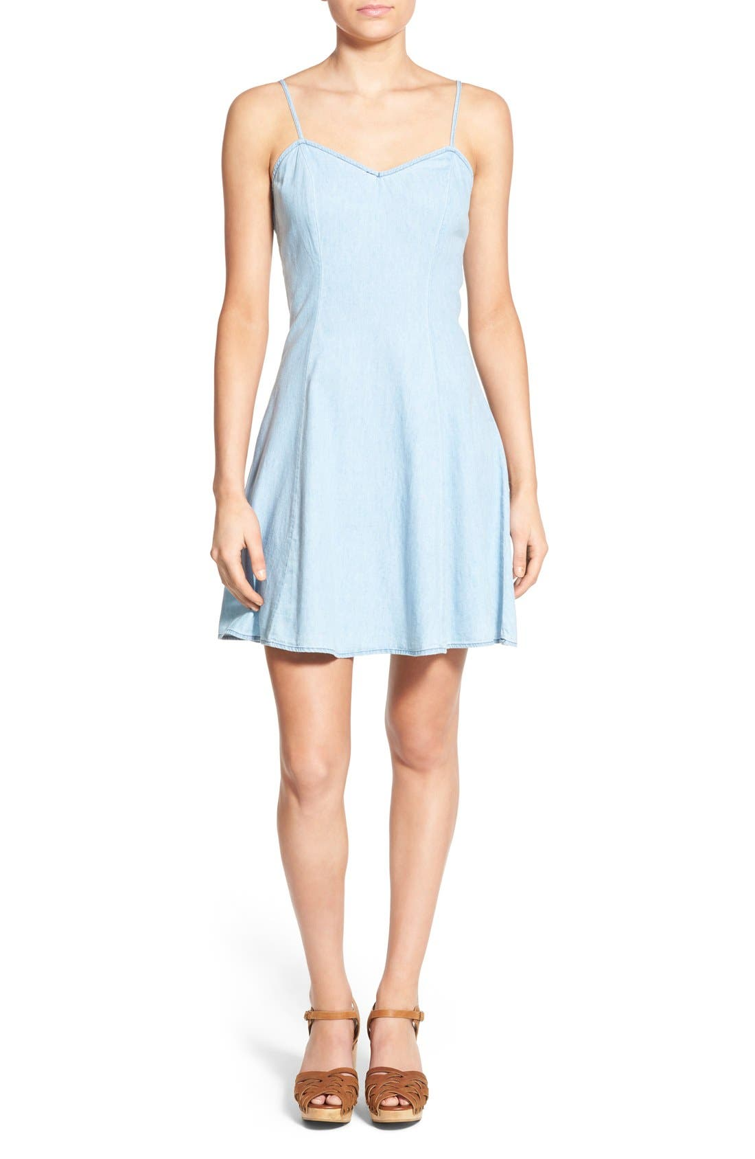 MIMI CHICA Denim Skater Dress, Main, color, 401