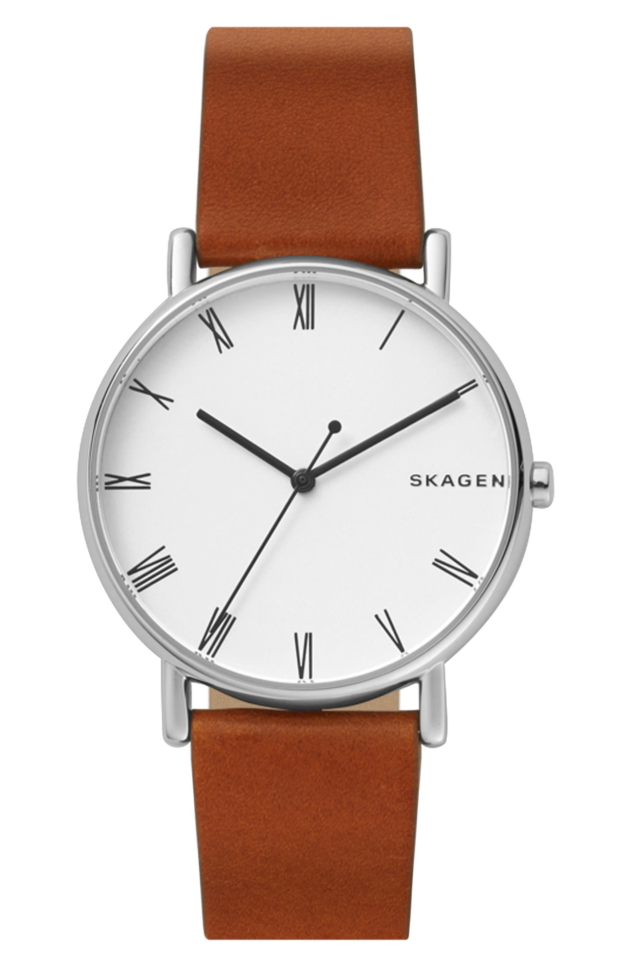 Signatur Leather Strap Watch, 40mm,                         Main,                         color, BROWN/ WHITE/ SILVER