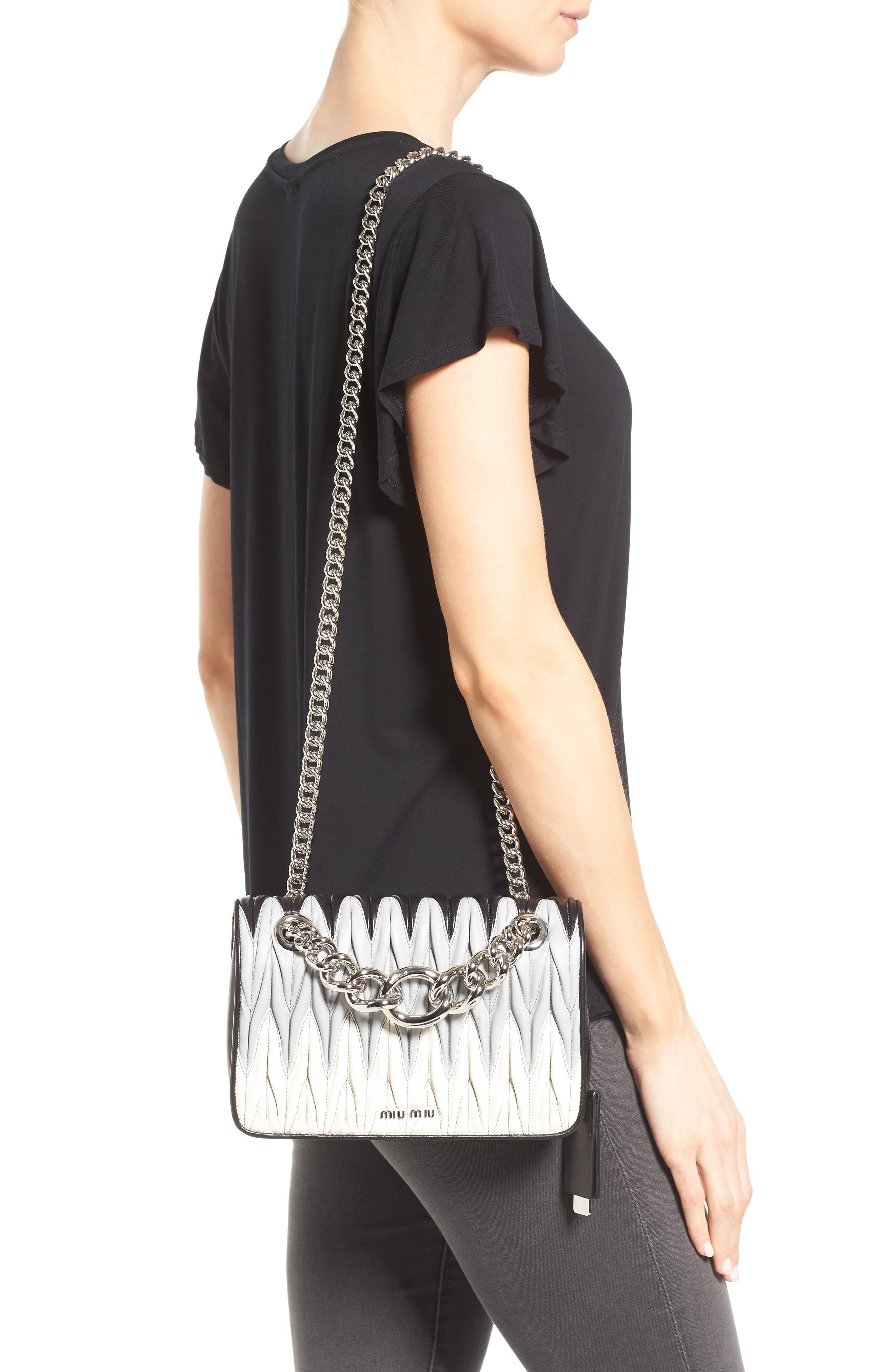 Club Matelassé Leather Shoulder Bag,                             Alternate thumbnail 3, color,                             001