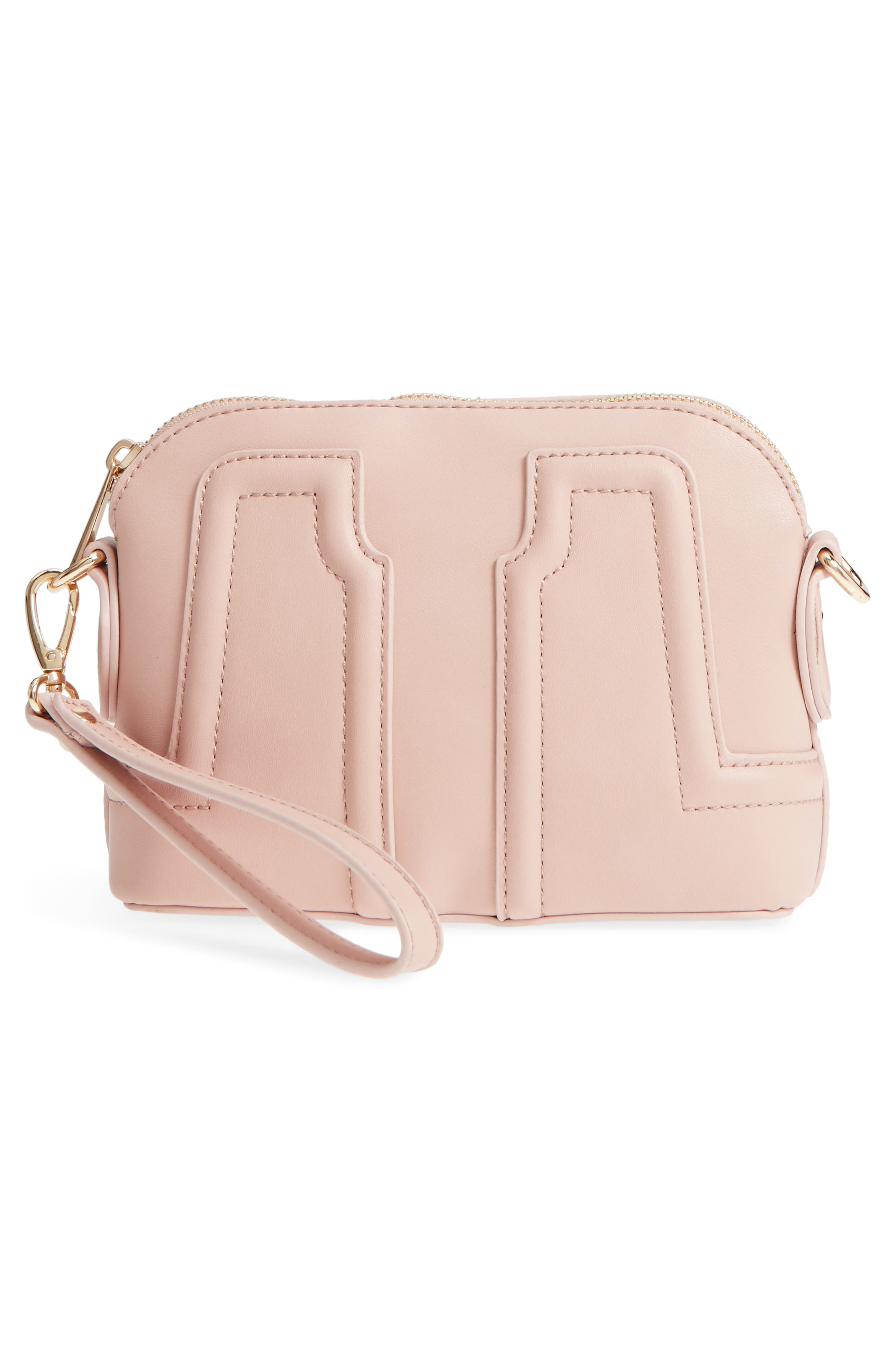 Structured Faux Leather Dome Crossbody,                             Alternate thumbnail 9, color,