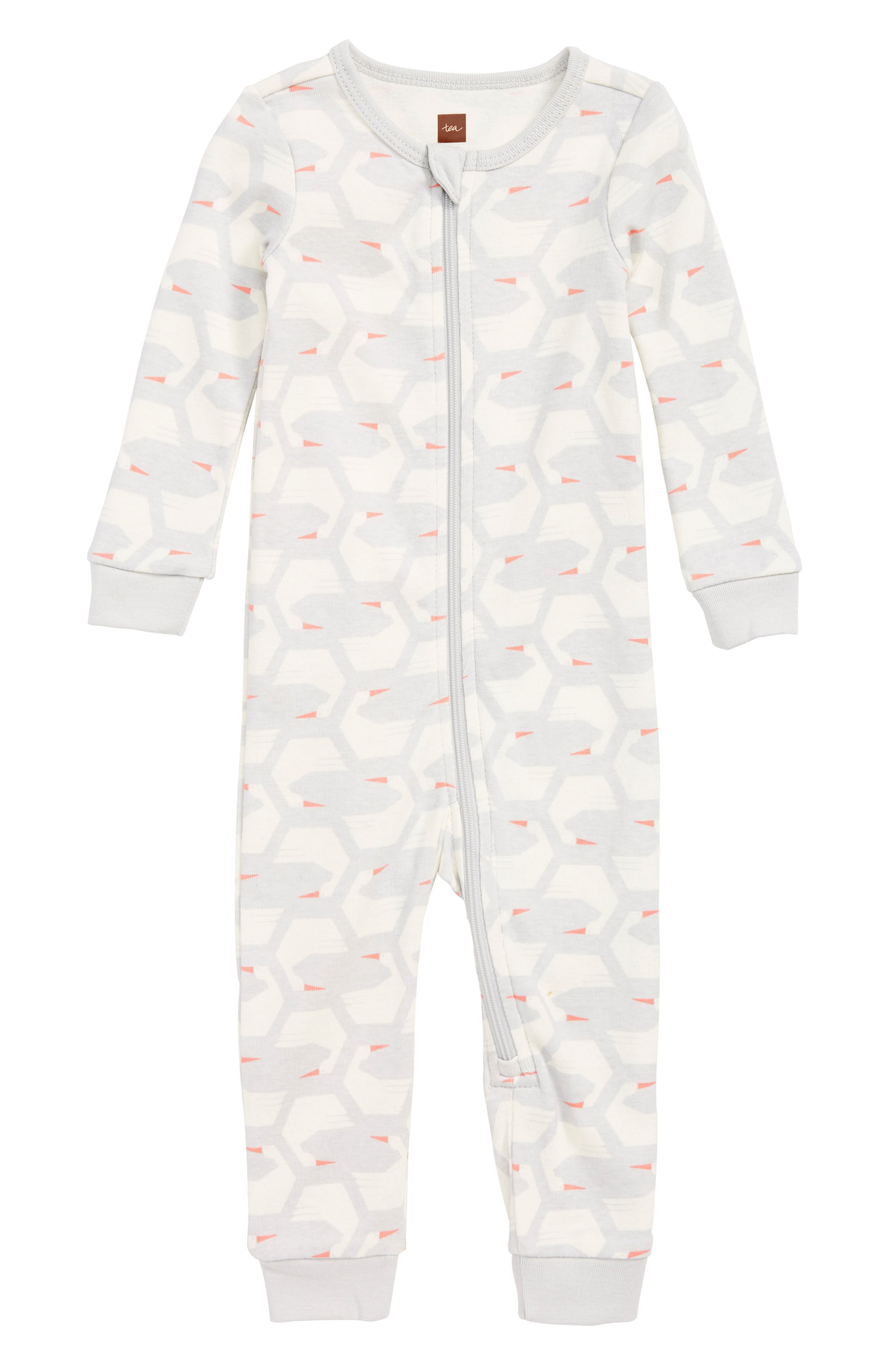 Fitted One-Piece Pajamas,                         Main,                         color, FLOCK OF SWANS