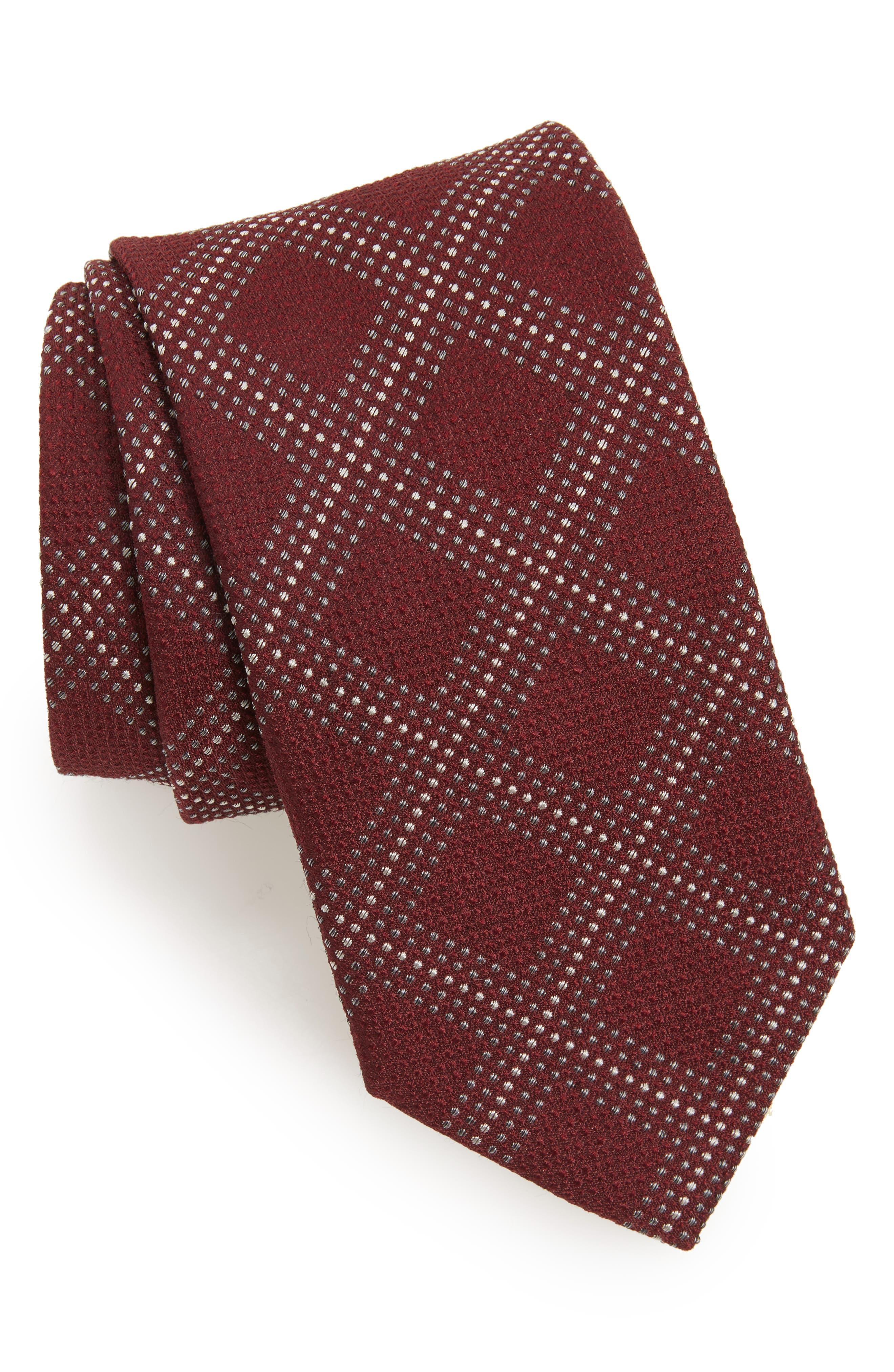 Grid Silk Blend Tie,                             Main thumbnail 3, color,
