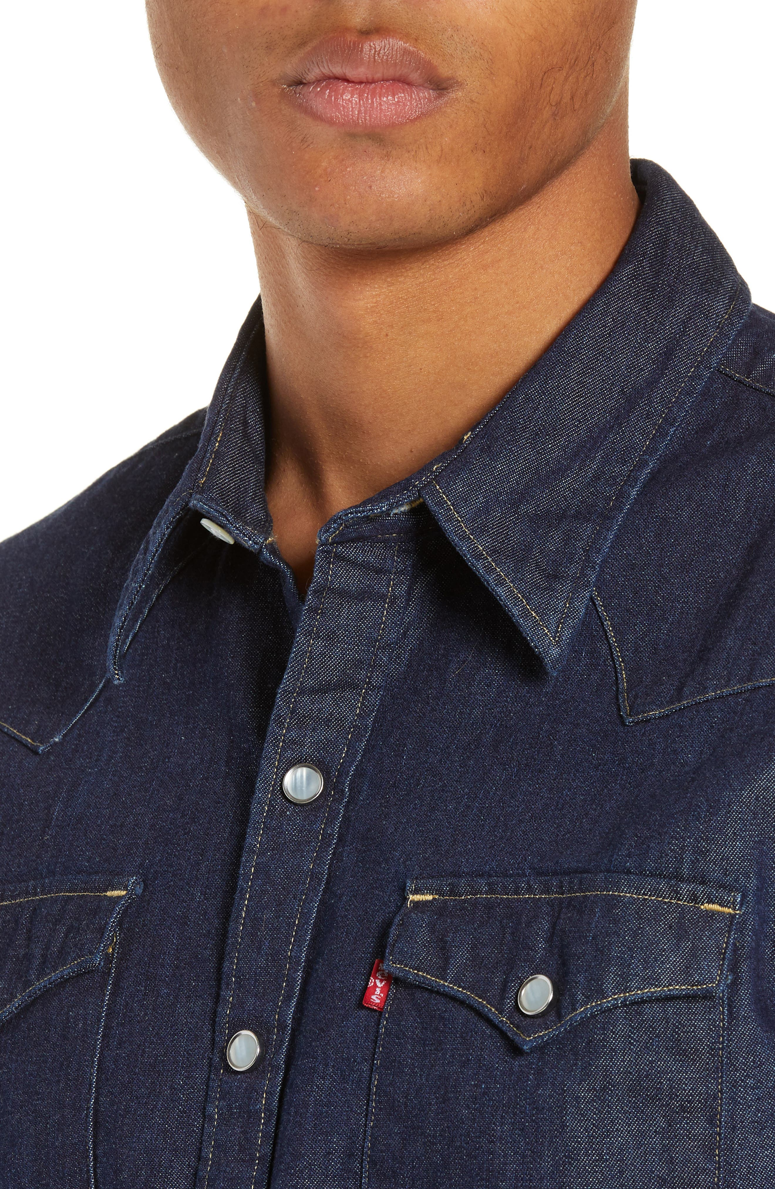 LEVI'S<SUP>®</SUP>,                             Barstow Denim Western Shirt,                             Alternate thumbnail 2, color,                             RED CAST RINSE