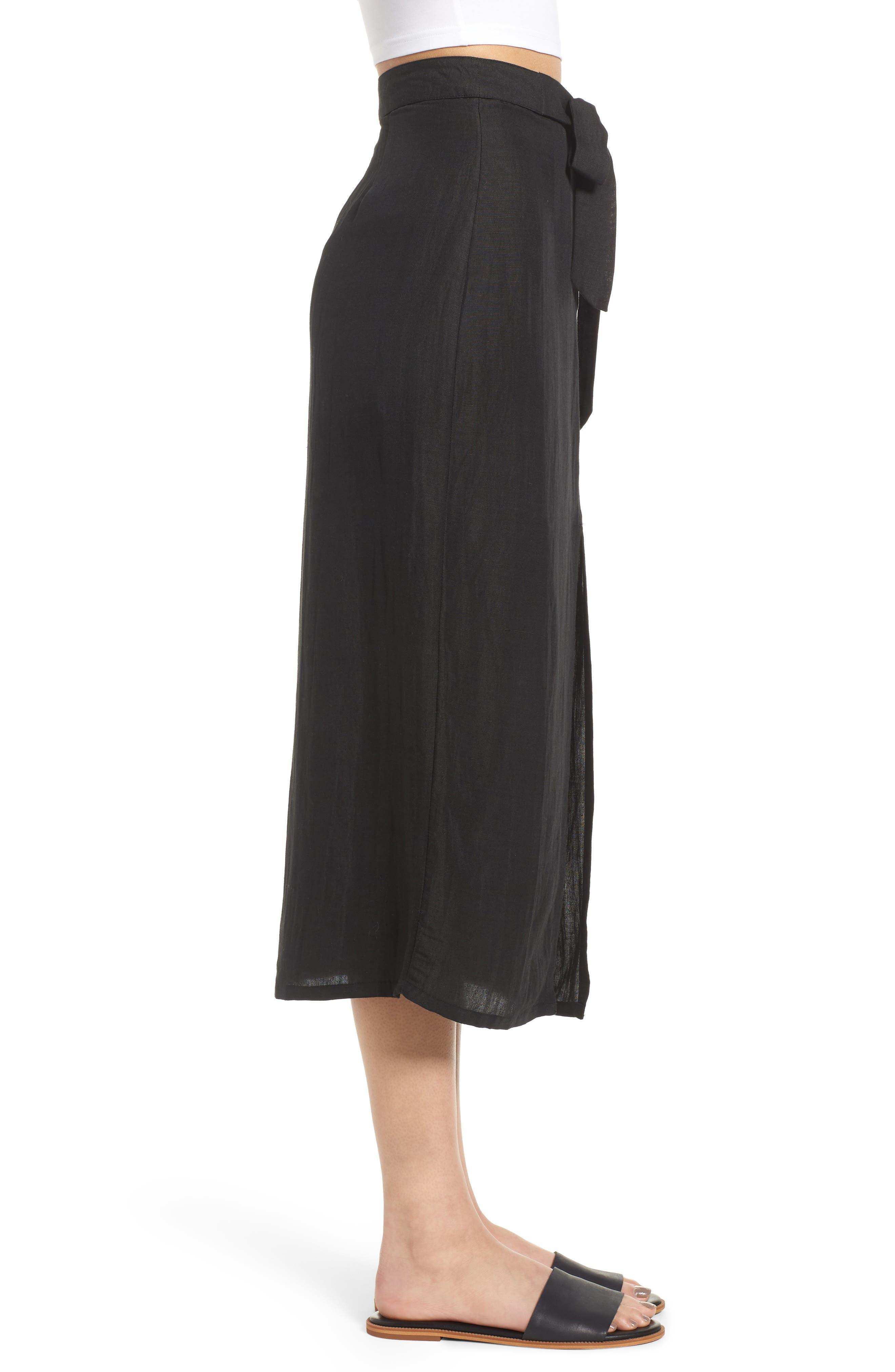 Linen Blend Midi Skirt,                             Alternate thumbnail 3, color,                             001