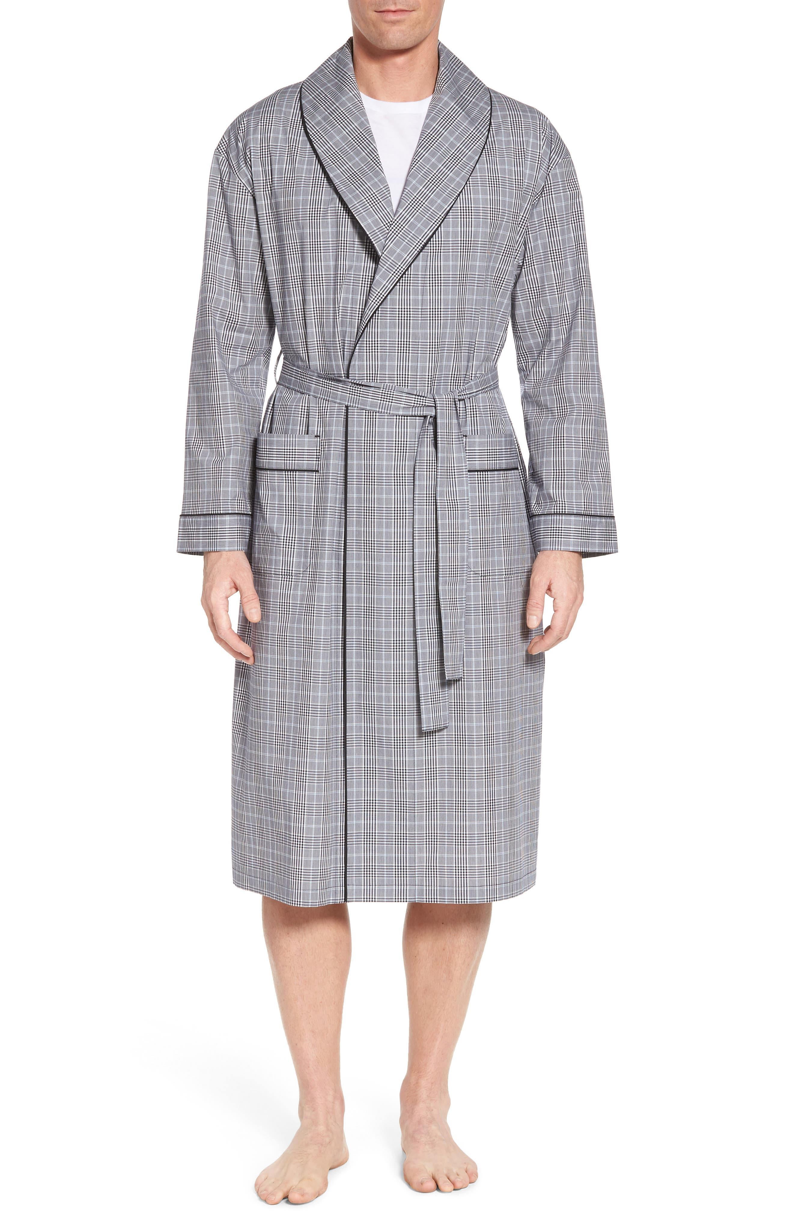 Charleston Robe,                         Main,                         color, BLACK PLAID