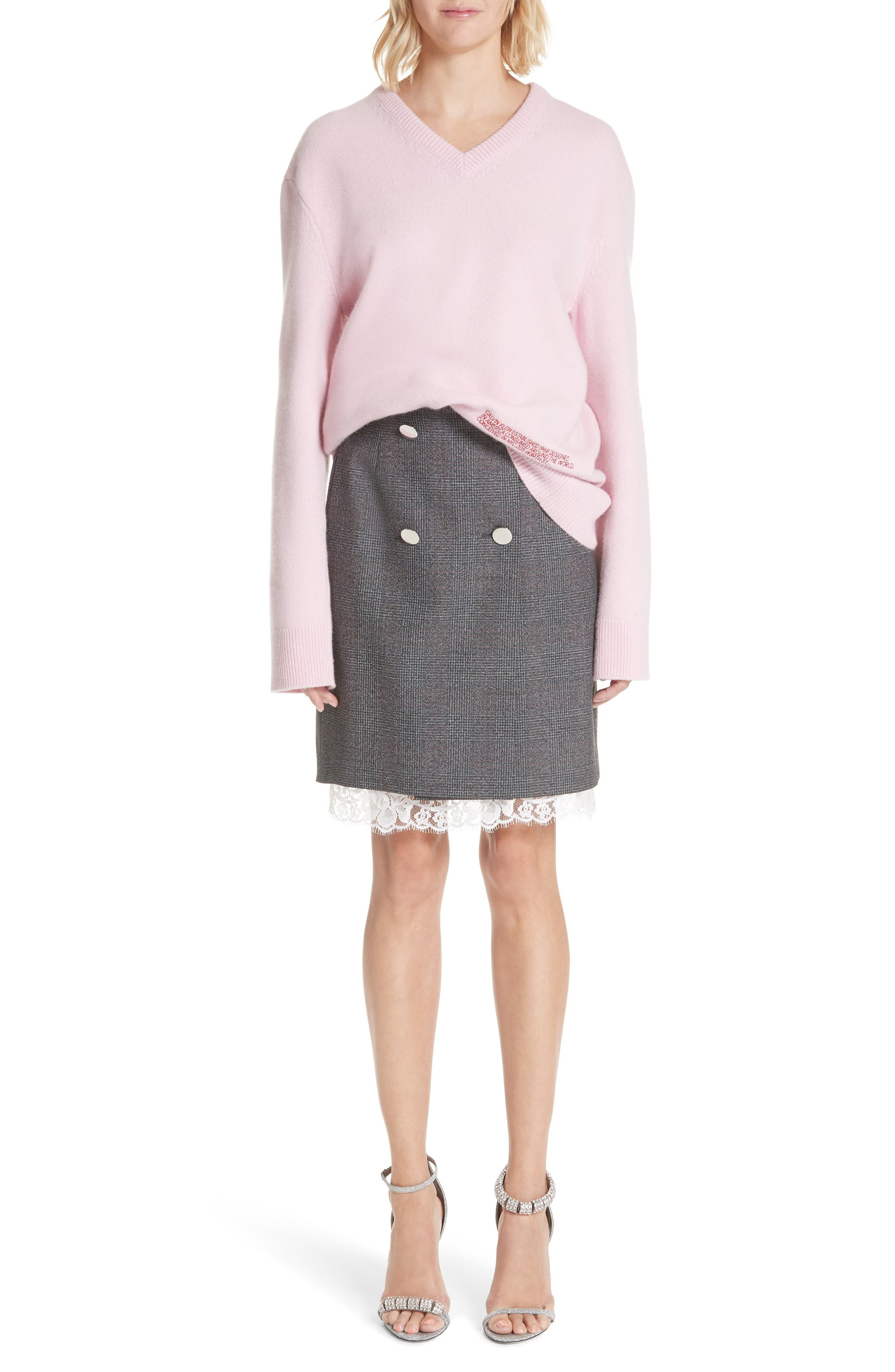Lace Trim Wool Skirt,                             Alternate thumbnail 8, color,                             DARK GREY GRENADINE