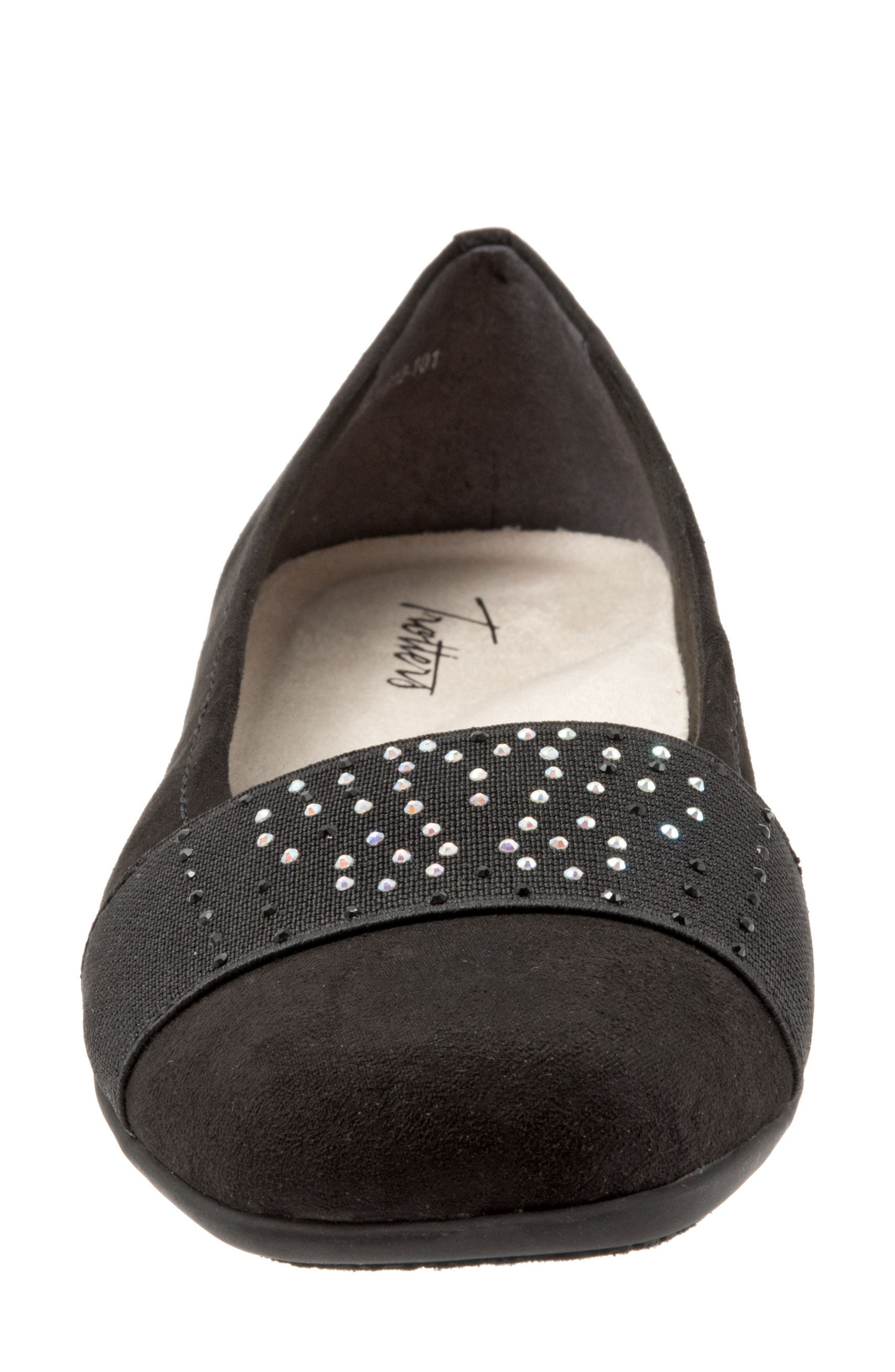 TROTTERS,                             Samantha Flat,                             Alternate thumbnail 4, color,                             BLACK SUEDE