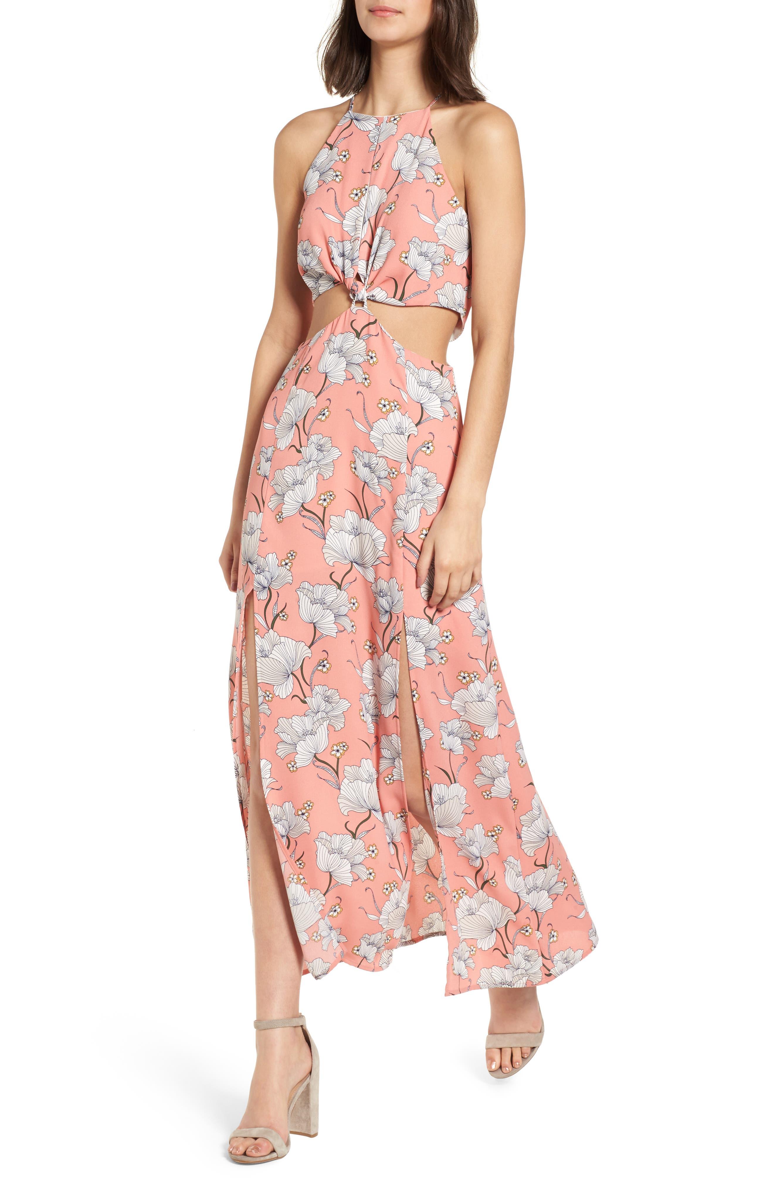 Floral Cutout Maxi Dress,                             Main thumbnail 1, color,                             650
