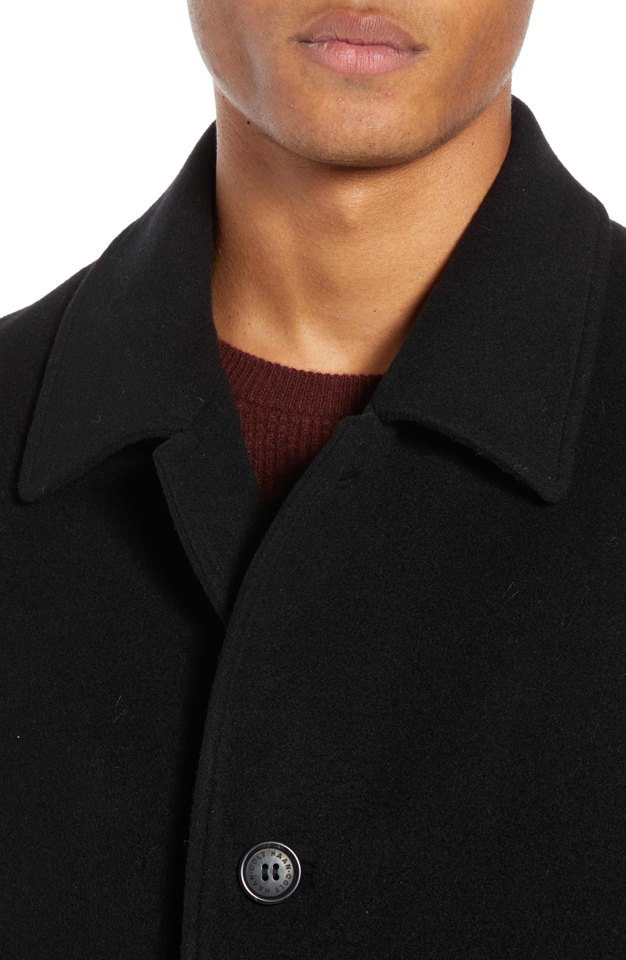 Italian Wool Blend Overcoat,                             Alternate thumbnail 6, color,                             BLACK