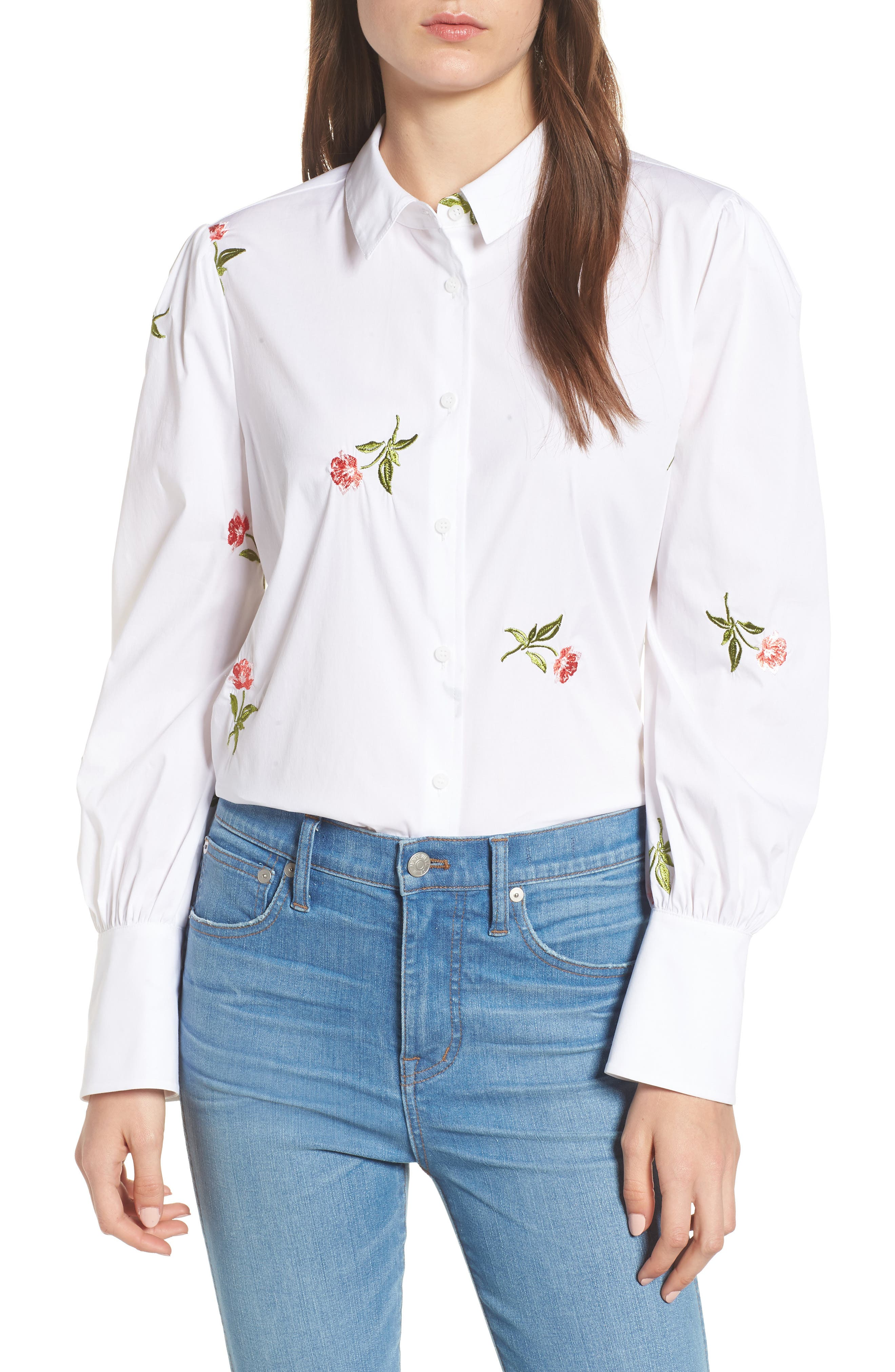 CHELSEA28,                             Embroidered Woven Shirt,                             Main thumbnail 1, color,                             WHITE- CORAL BUD EMBROIDERY