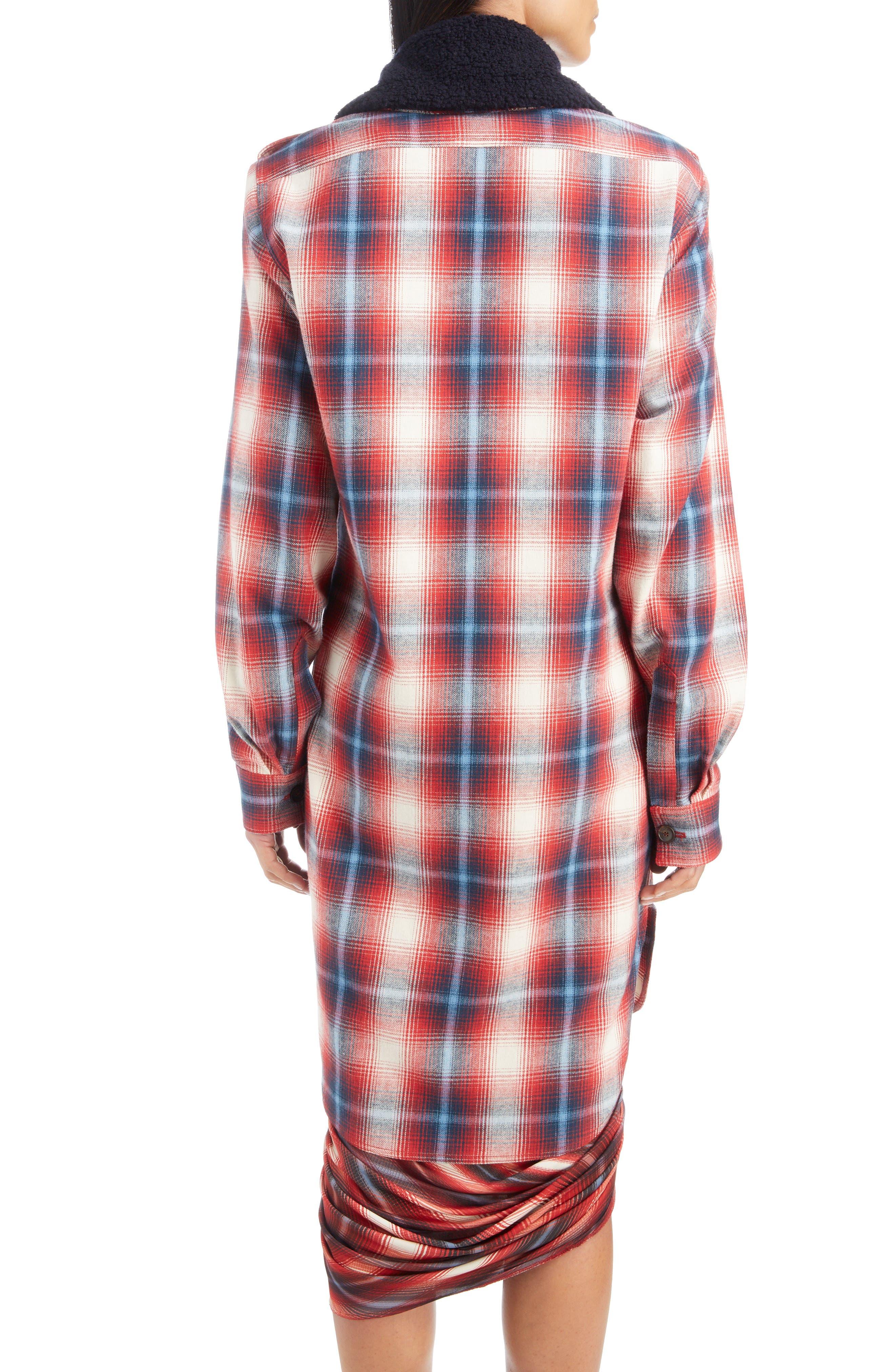 Removable Collar Plaid Cotton Jacket,                             Alternate thumbnail 3, color,                             ROUGE