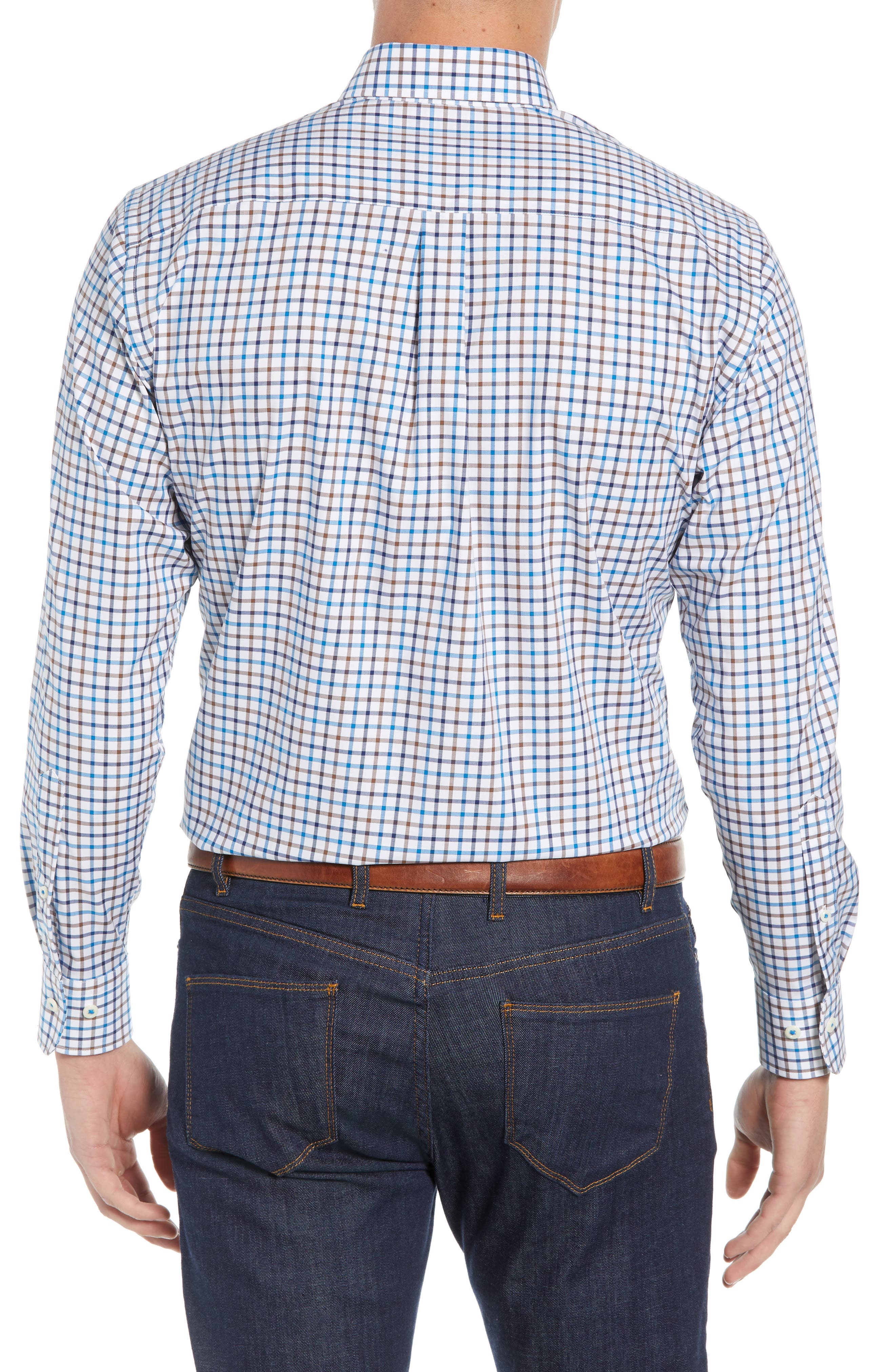 Crown Ease Eyre Regular Fit Tattersall Check Sport Shirt,                             Alternate thumbnail 3, color,                             BLUE