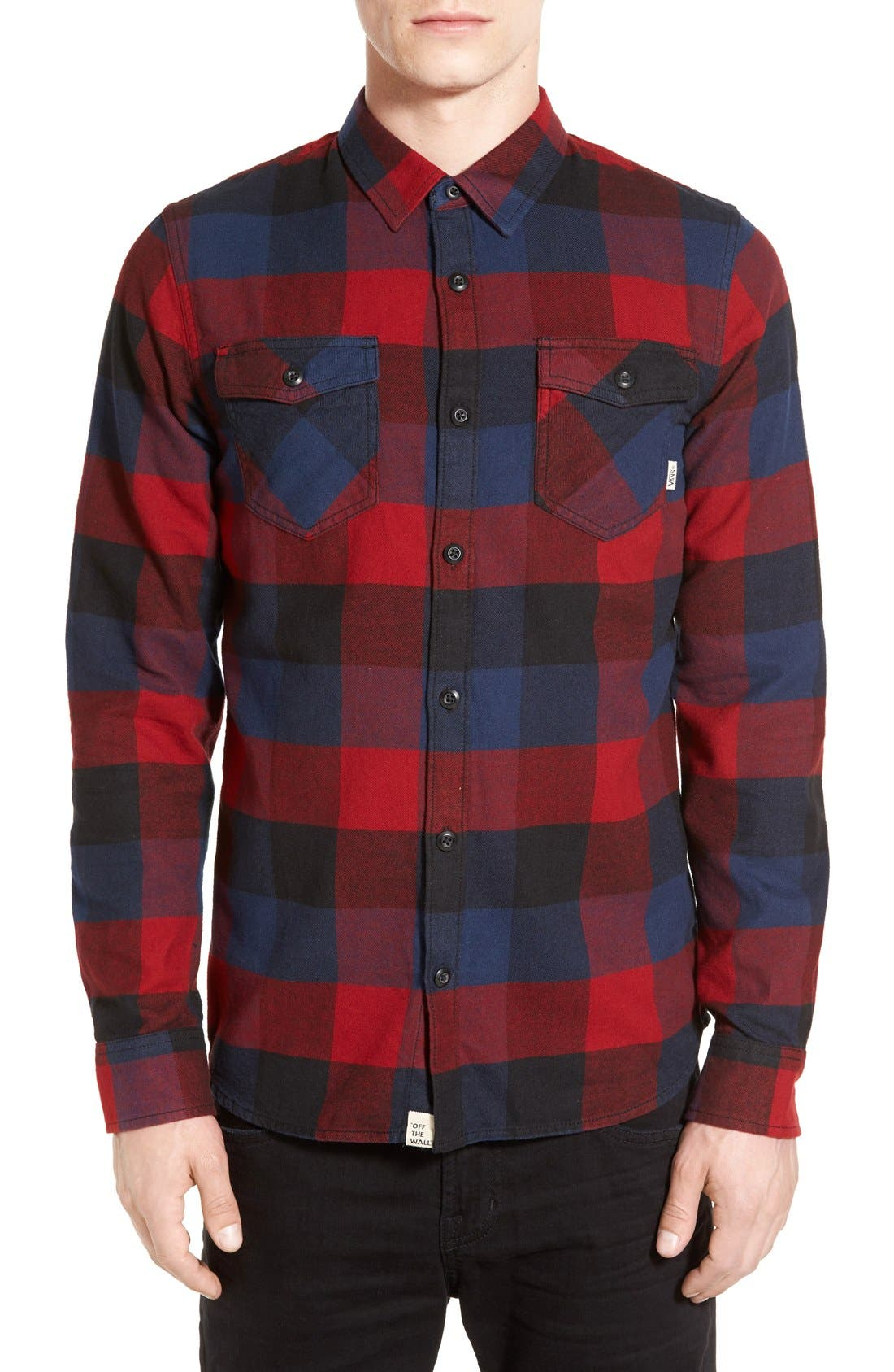 Trim Fit Check Flannel Woven Shirt,                             Main thumbnail 5, color,
