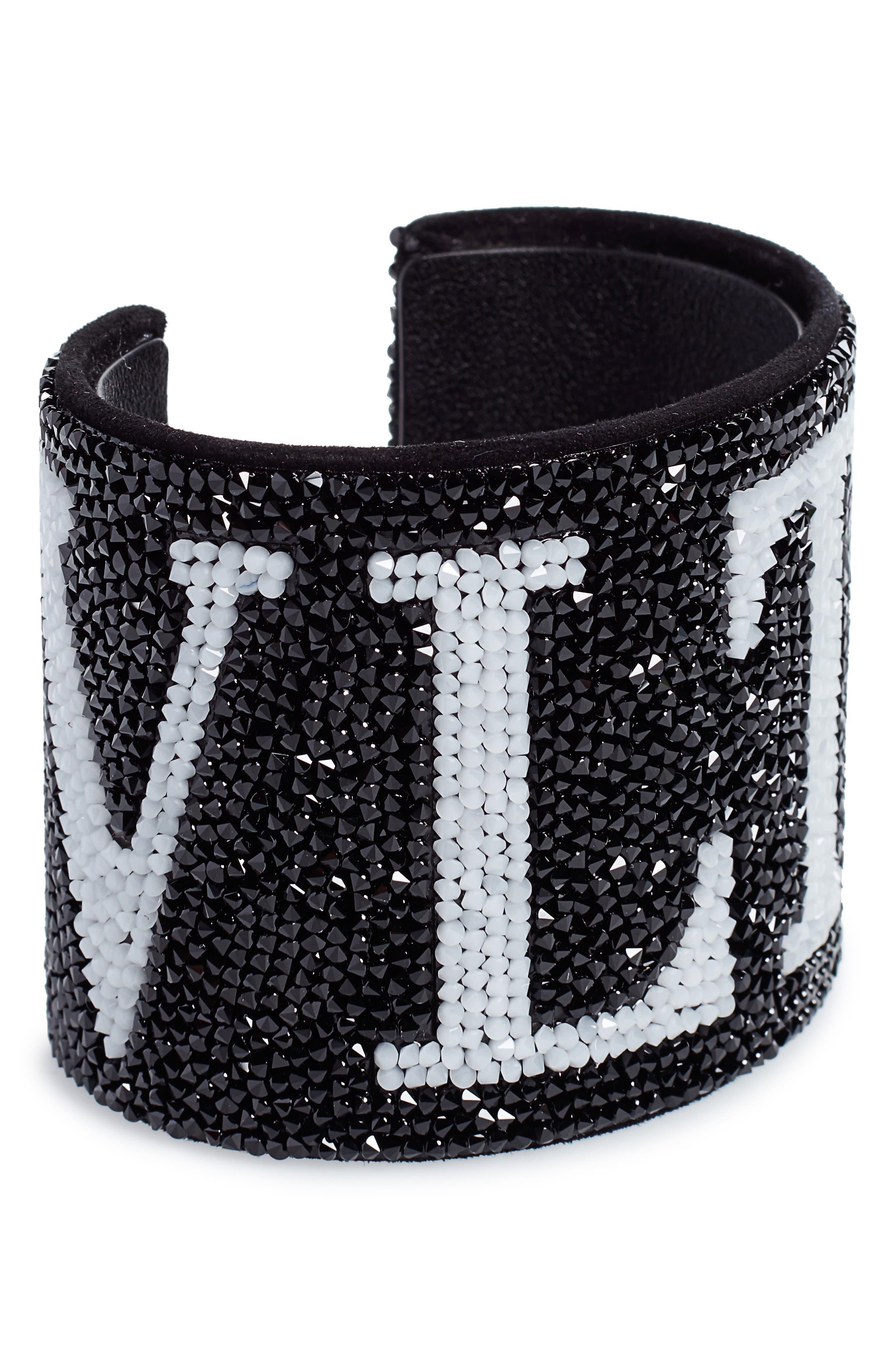 VALENTINO,                             VLTN Cuff Bracelet,                             Main thumbnail 1, color,                             001
